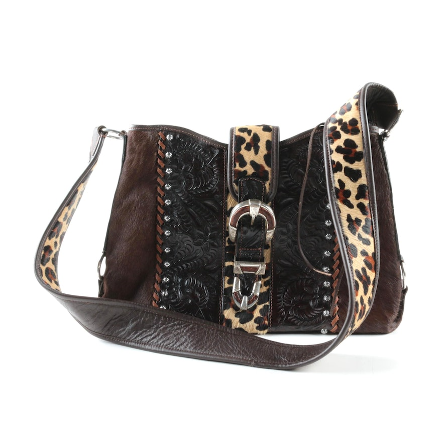 24c76fc2b85e American West Tooled Leather and Animal Print Handbag : EBTH