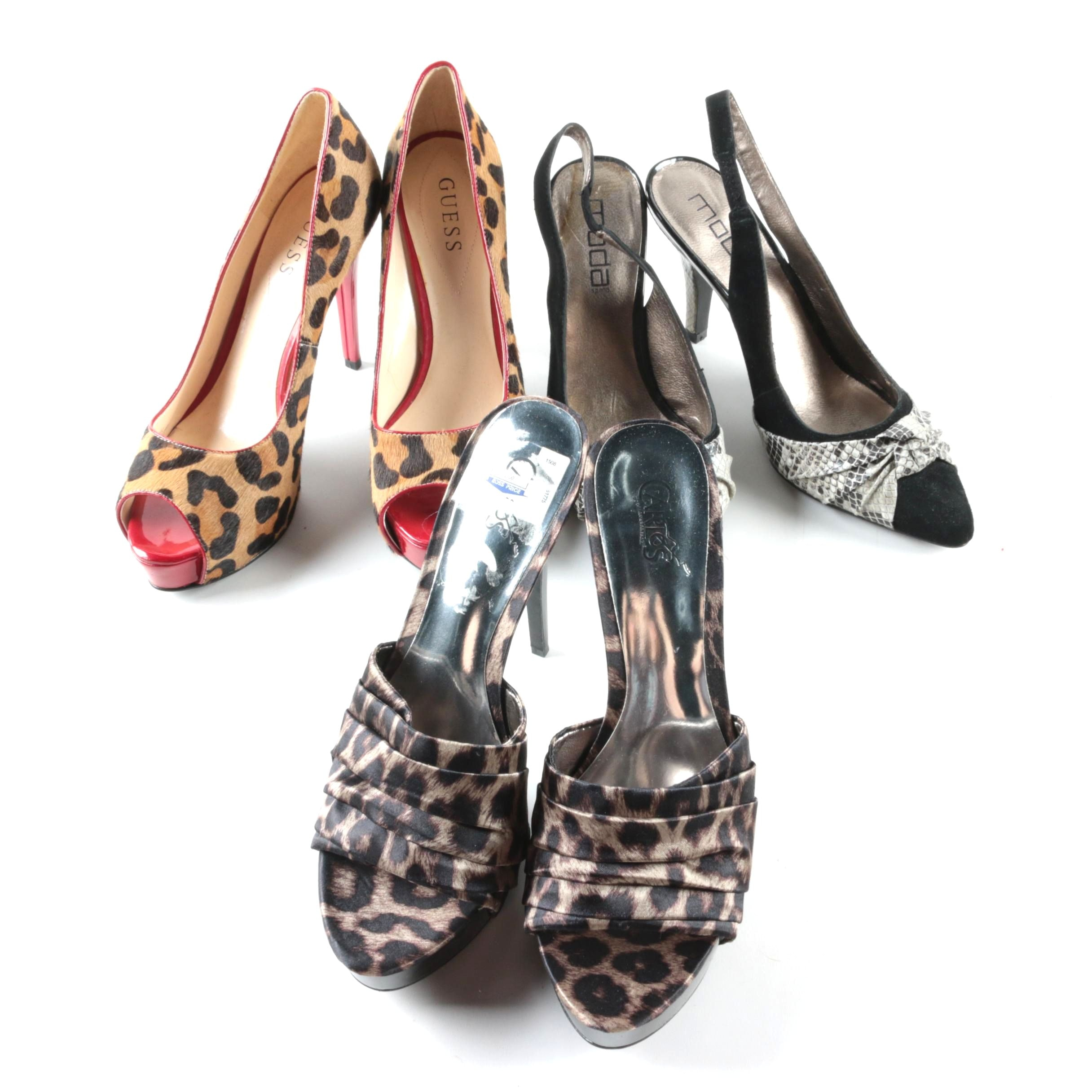 Leopard and Snakeskin Patterned High Heels, Including GUESS
