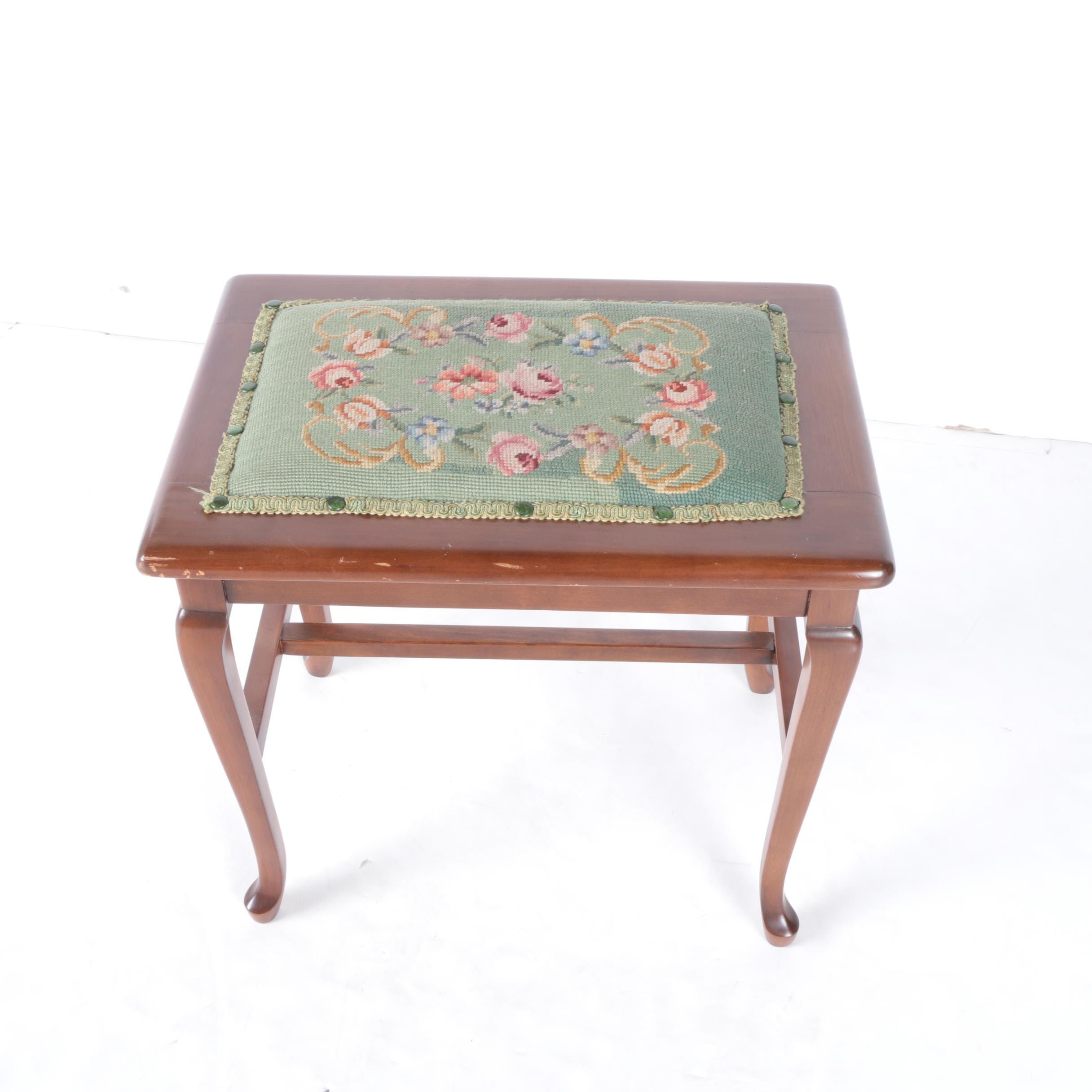 Vintage Queen Anne Style Bench with Needlepoint Upholstery
