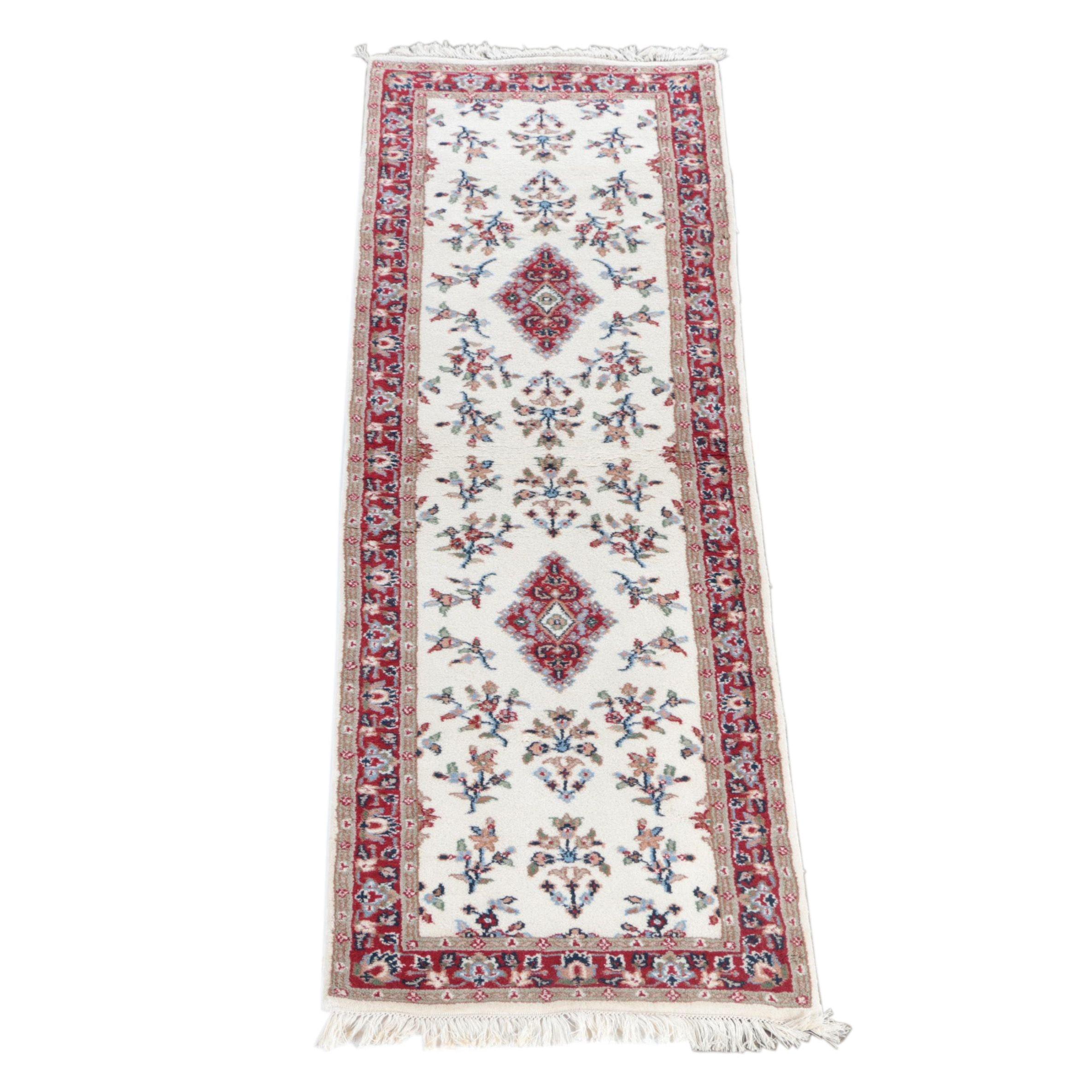 Hand-Knotted Indo-Sarouk Carpet Runner