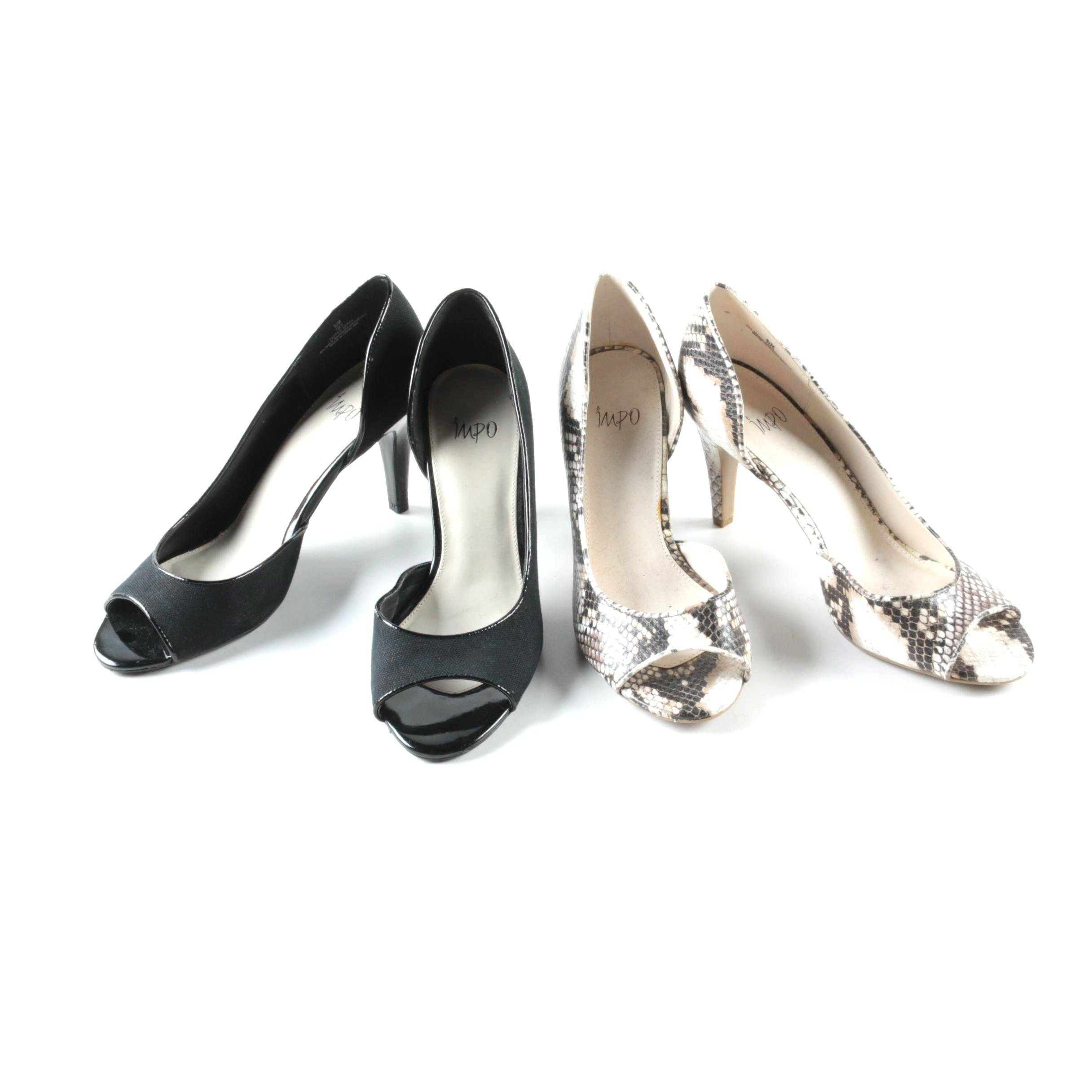 Impo Black and Faux Snakeskin Heels