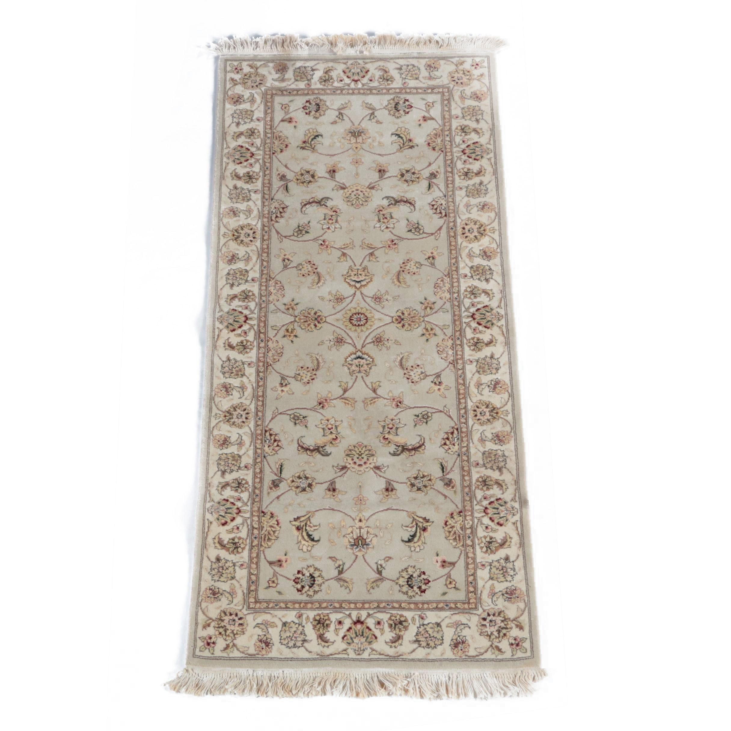 Hand-Knotted Sino-Persian Wool and Silk Carpet Runner