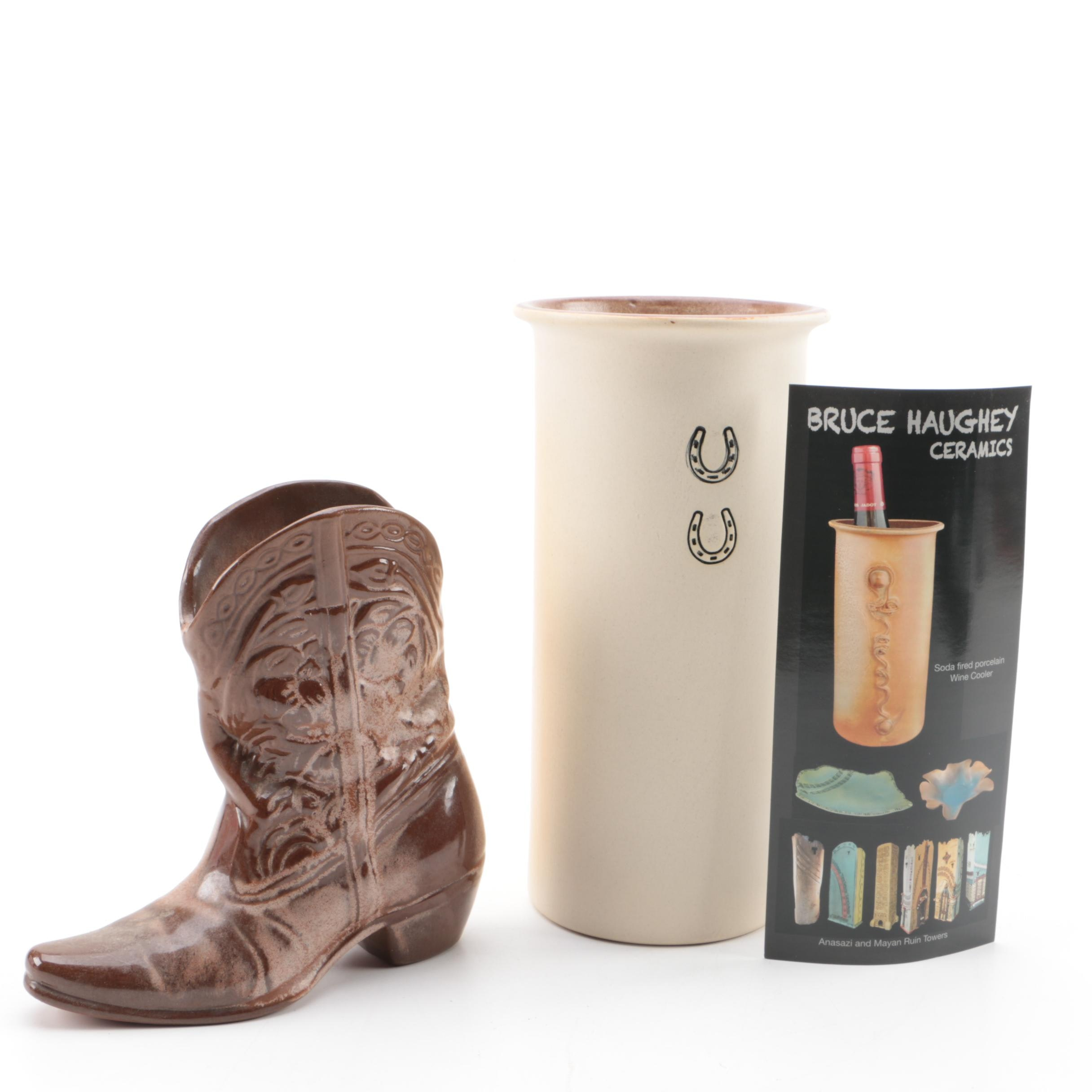 Ceramic Wine Cooler And Cowboy Boot Planter Ebth