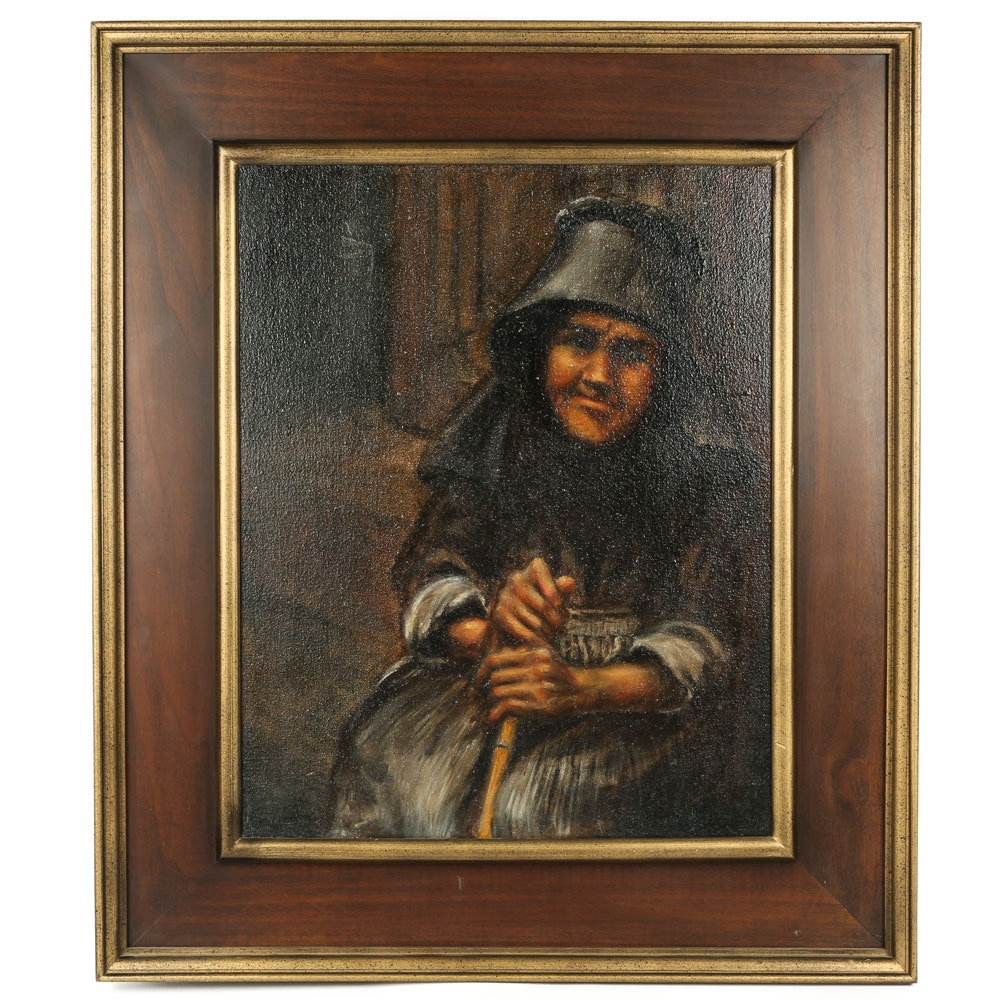 Oil on Canvas Portrait of Woman with Cane