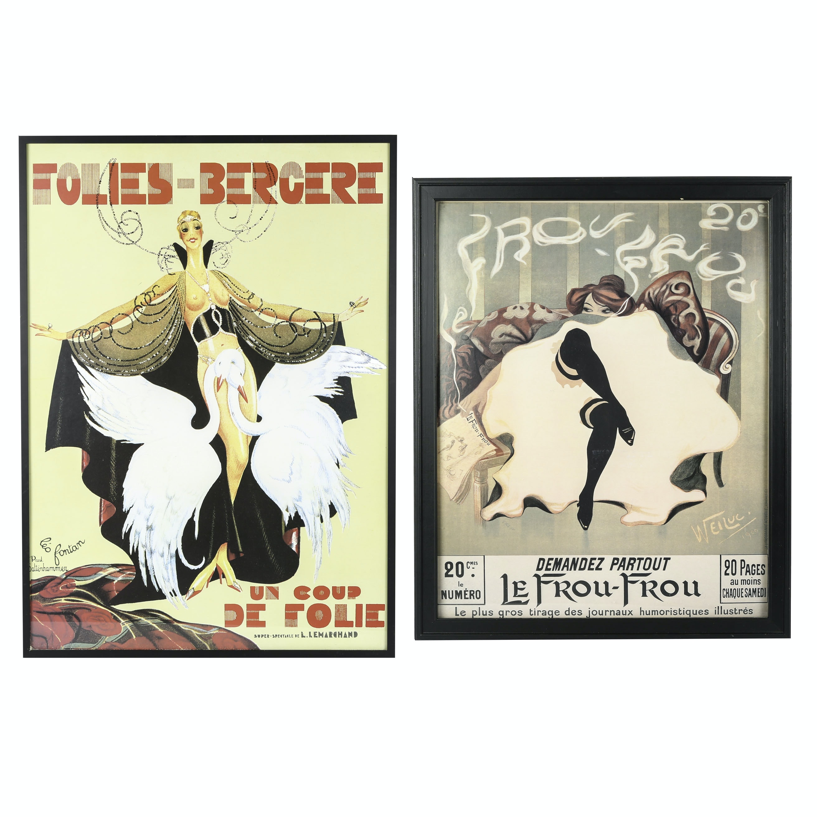 """Folies-Bergere"" and ""Le Frou Frou"" Reproduction Posters on Paper"