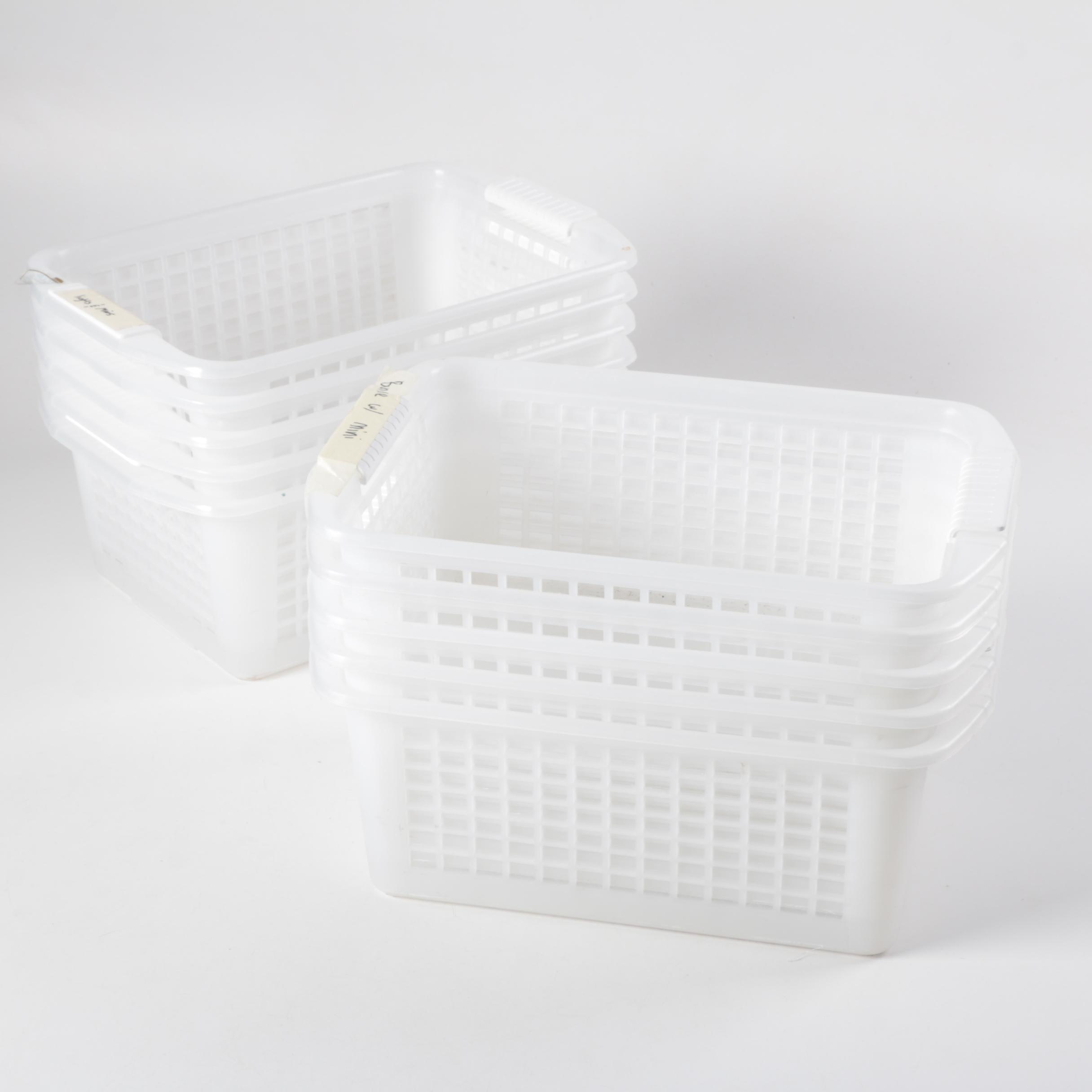 White Plastic Baskets with Handles
