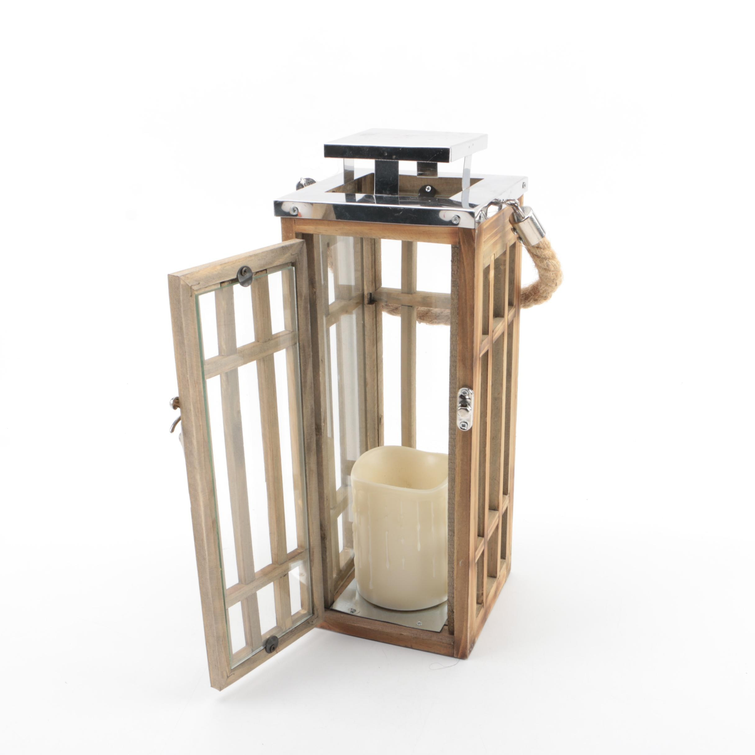 Wood and Metal Lantern with Battery Operated Candle