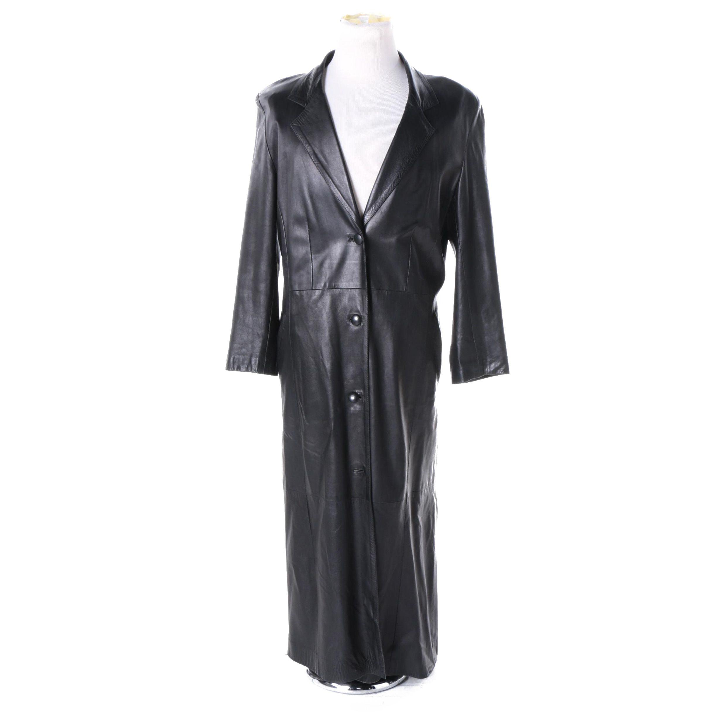 Women's Vintage Qzzi Black Leather Coat