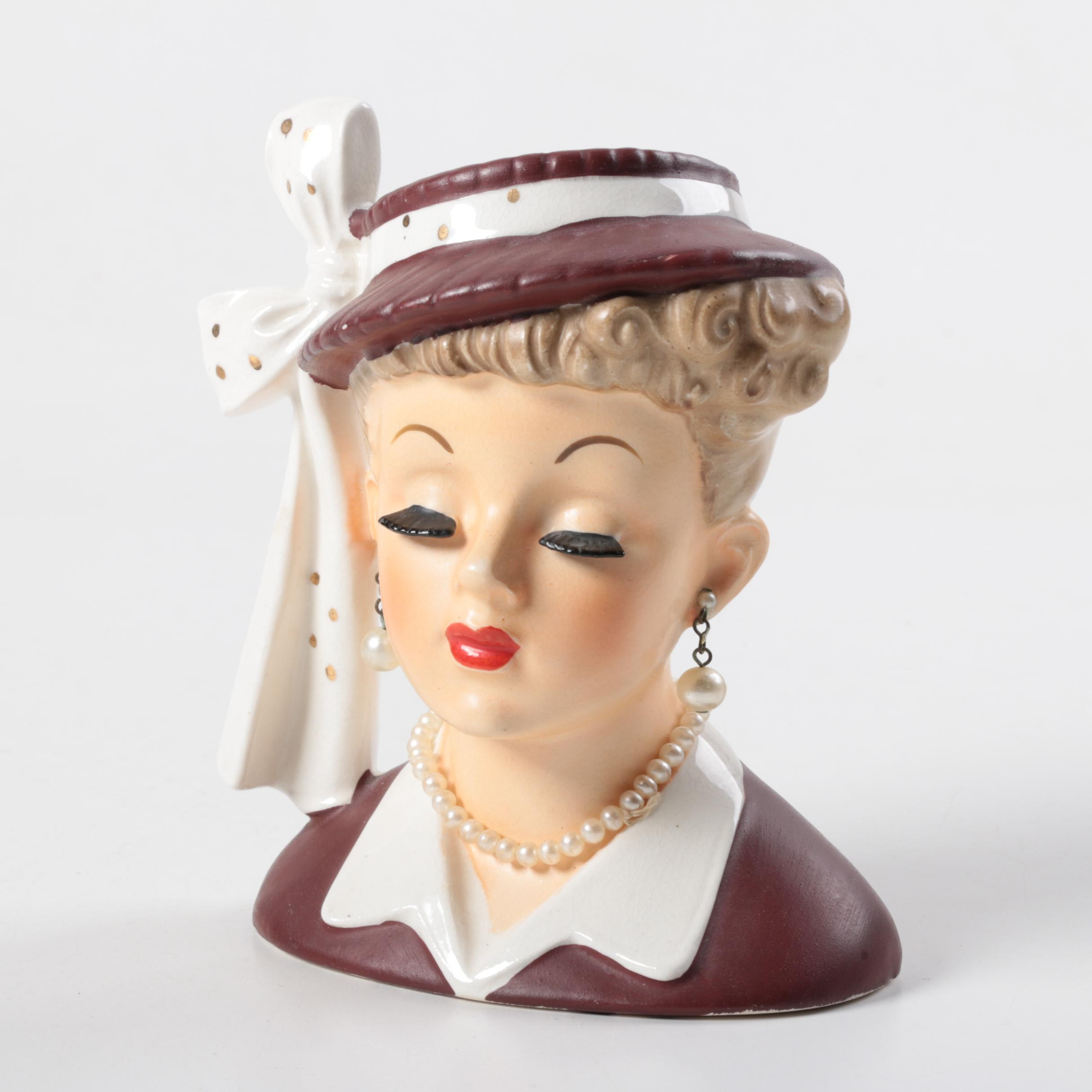 1956 Napco Lady Head Ceramic Vase