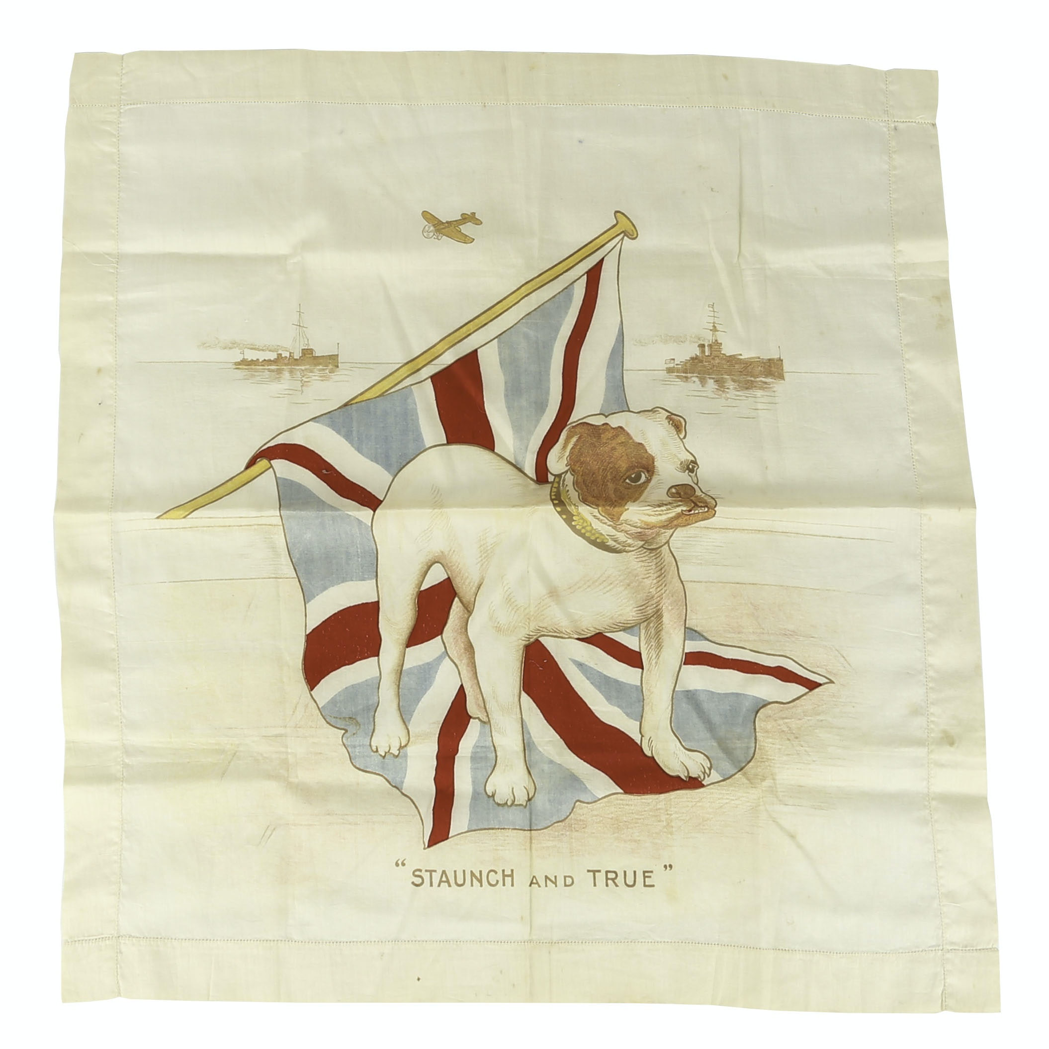 "WWII Era British ""Staunch and True"" Linen Handkerchief"