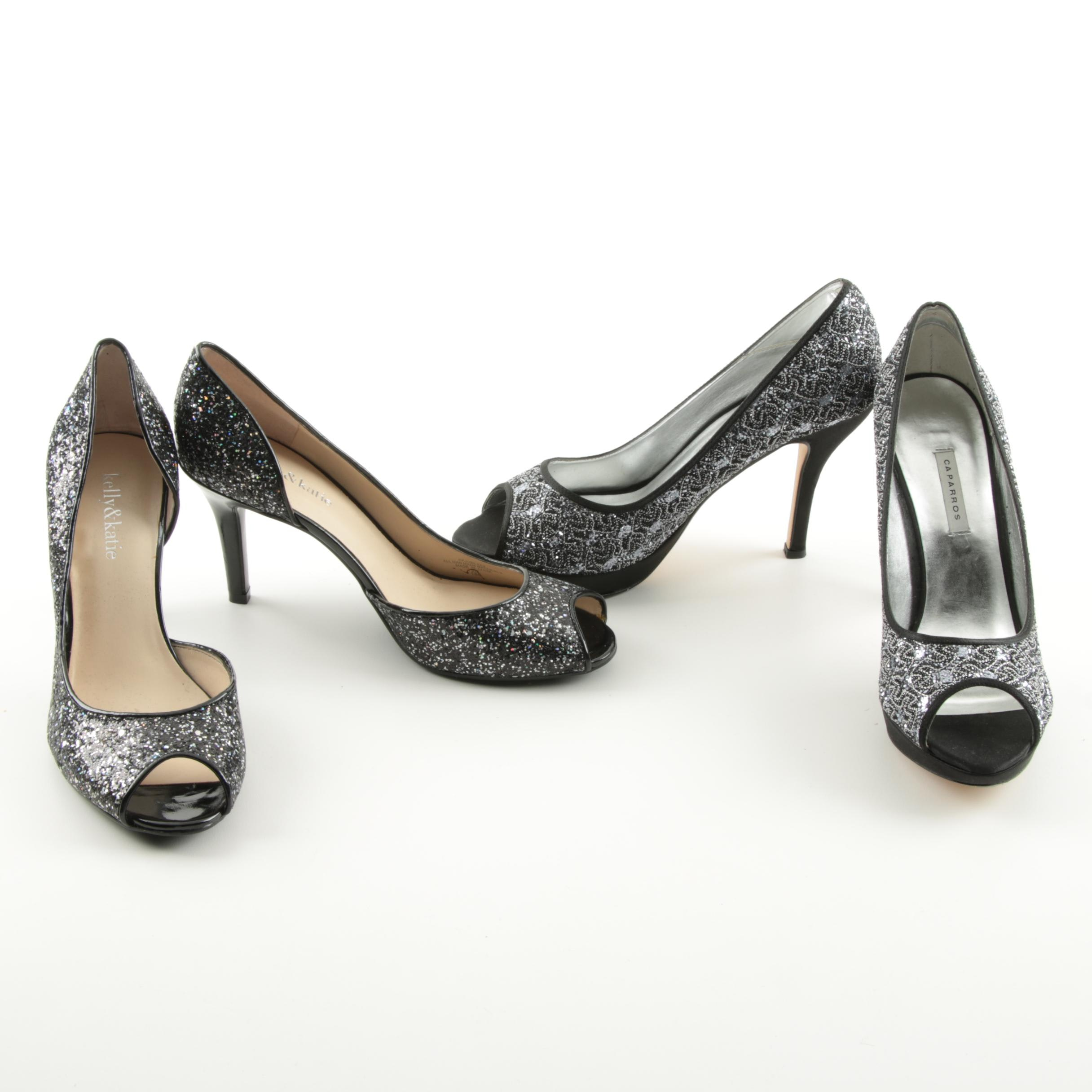 Embellished Peep Toe High Heels, Including Caparros