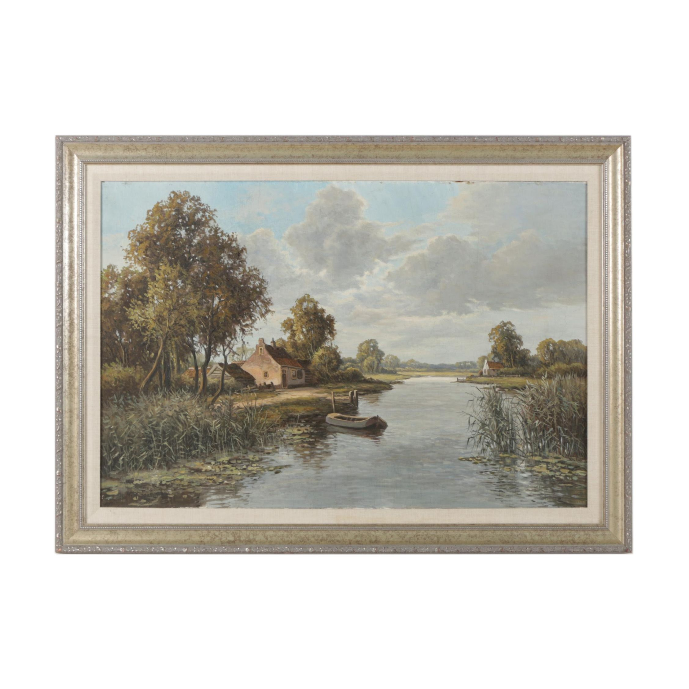 Early to Mid-Century German Oil Landscape Painting on Board of a Tranquil Dock