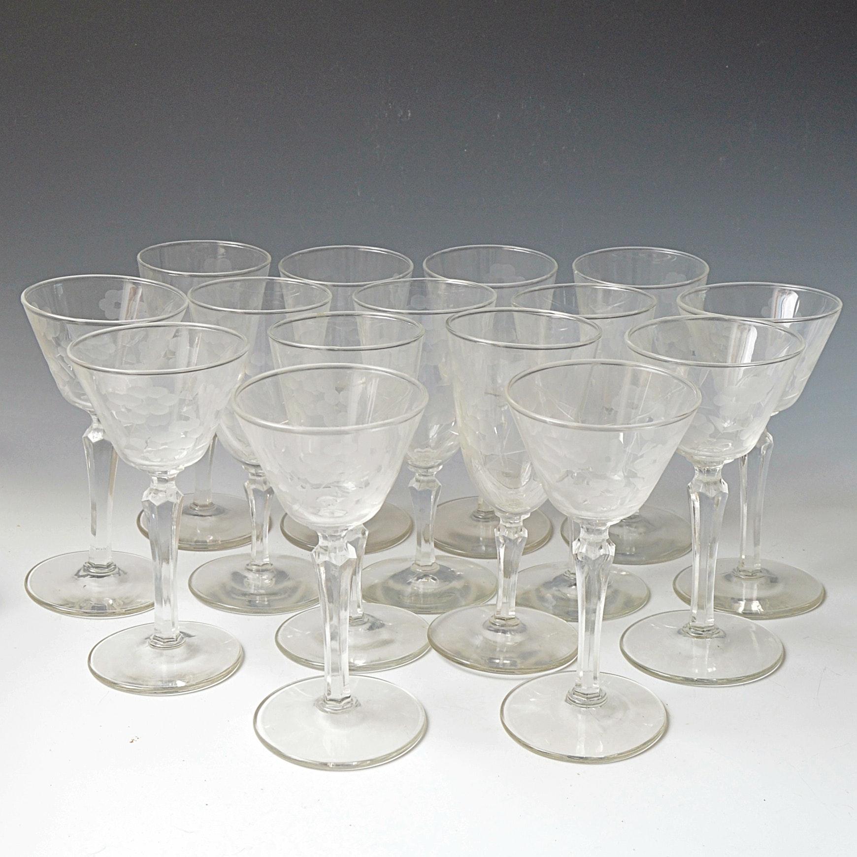 Set of Vintage Etched Glass Wine Goblets