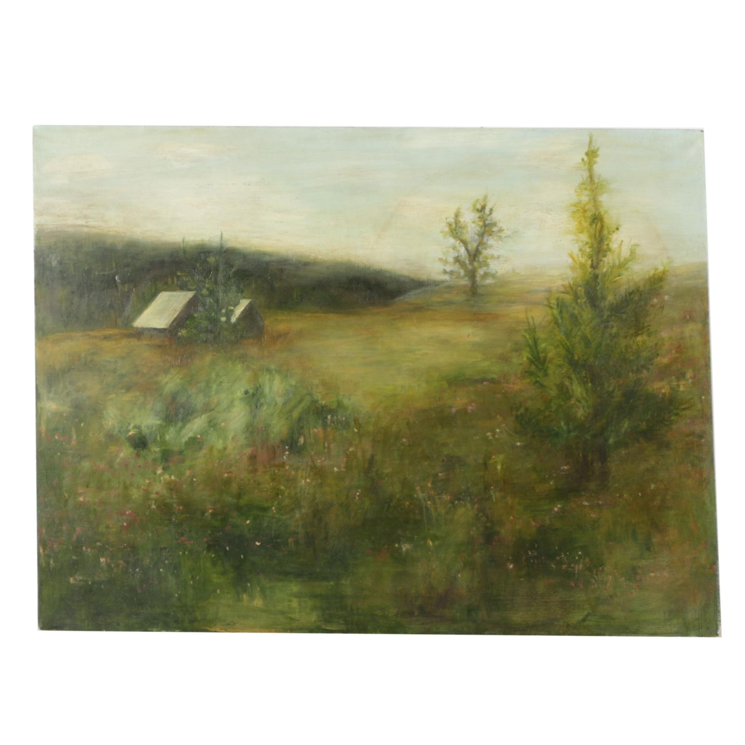 Oil Painting of a Pastoral Landscape