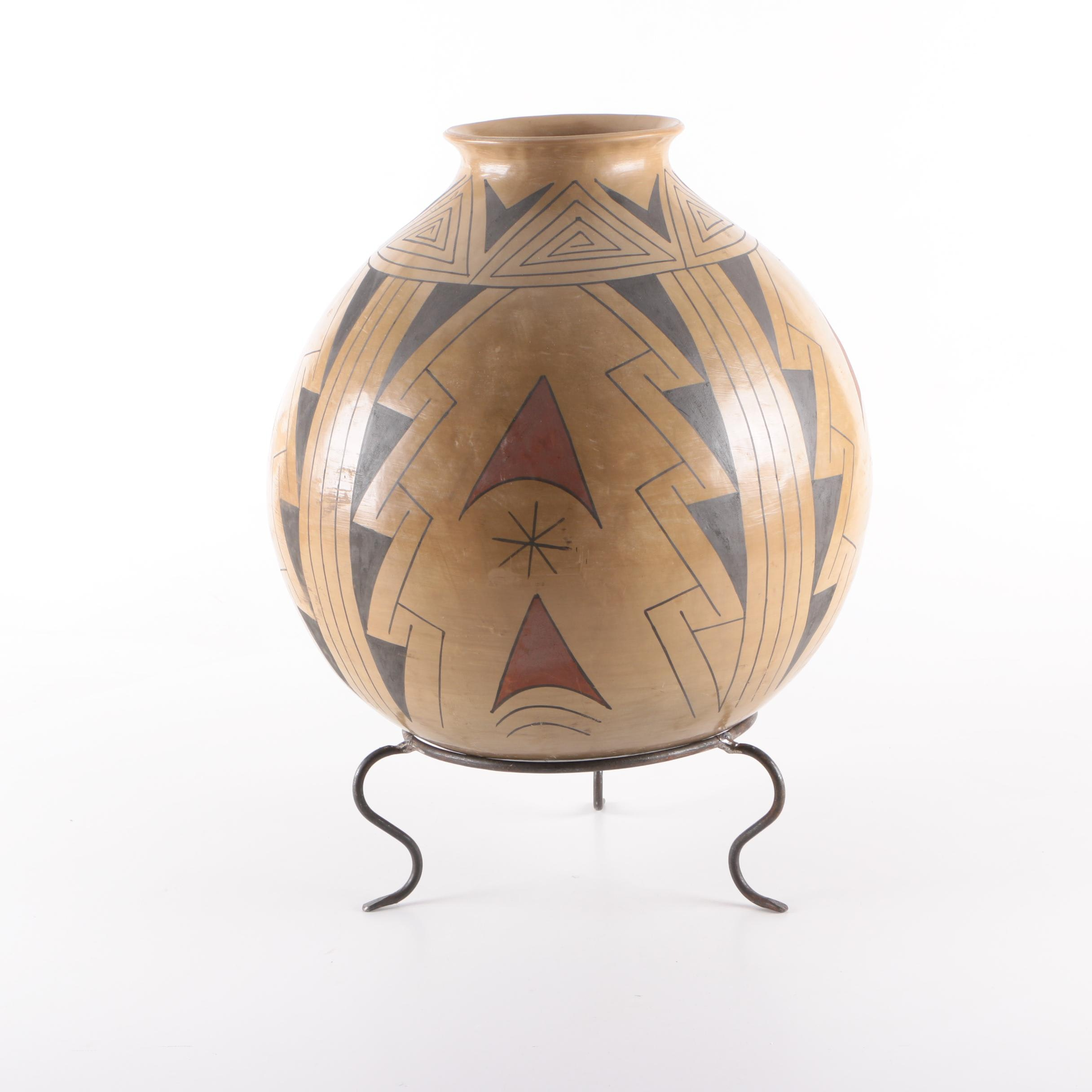 Native American Art Pottery Vase with Stand