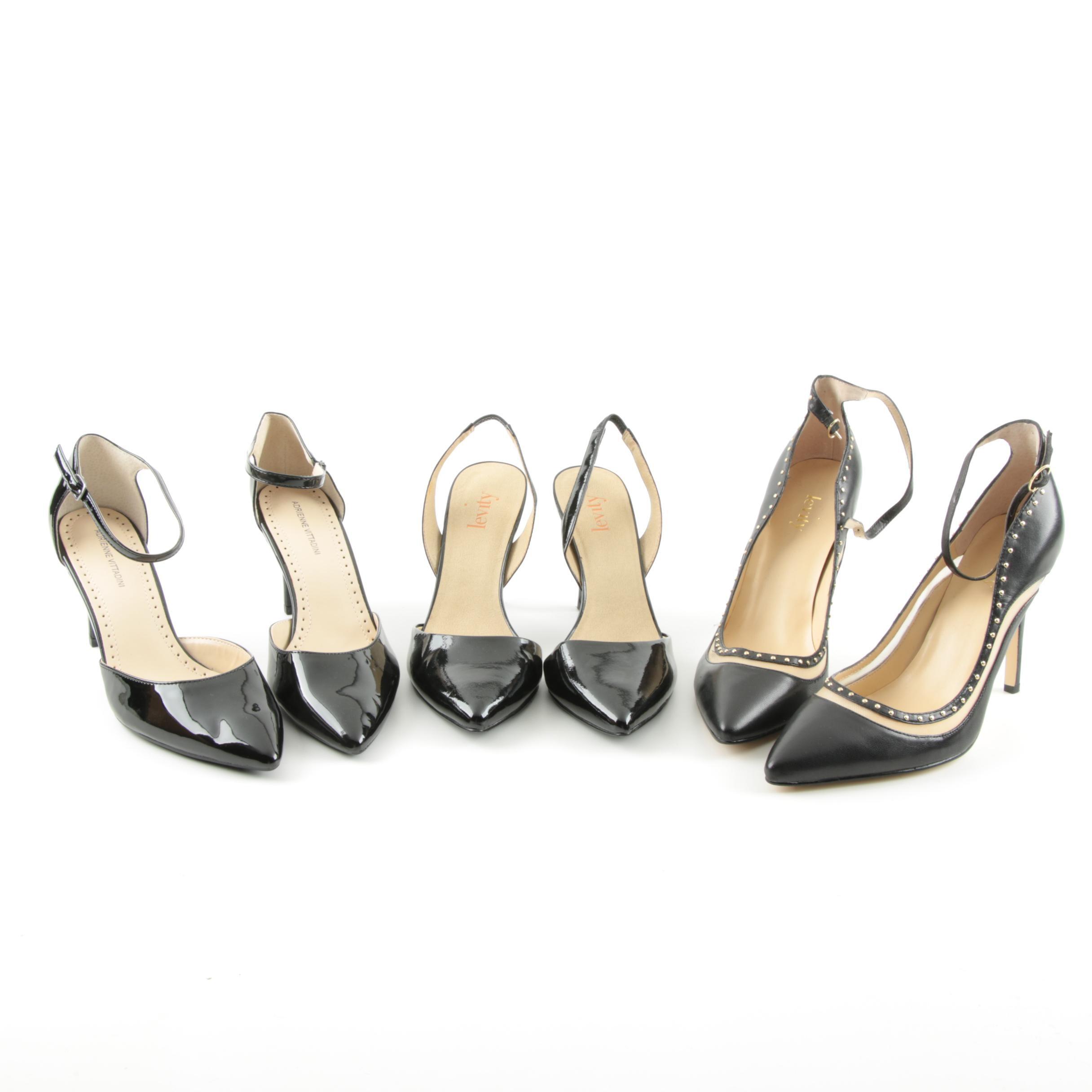 Women's Adrienne Vittadini and Levity Black Heels