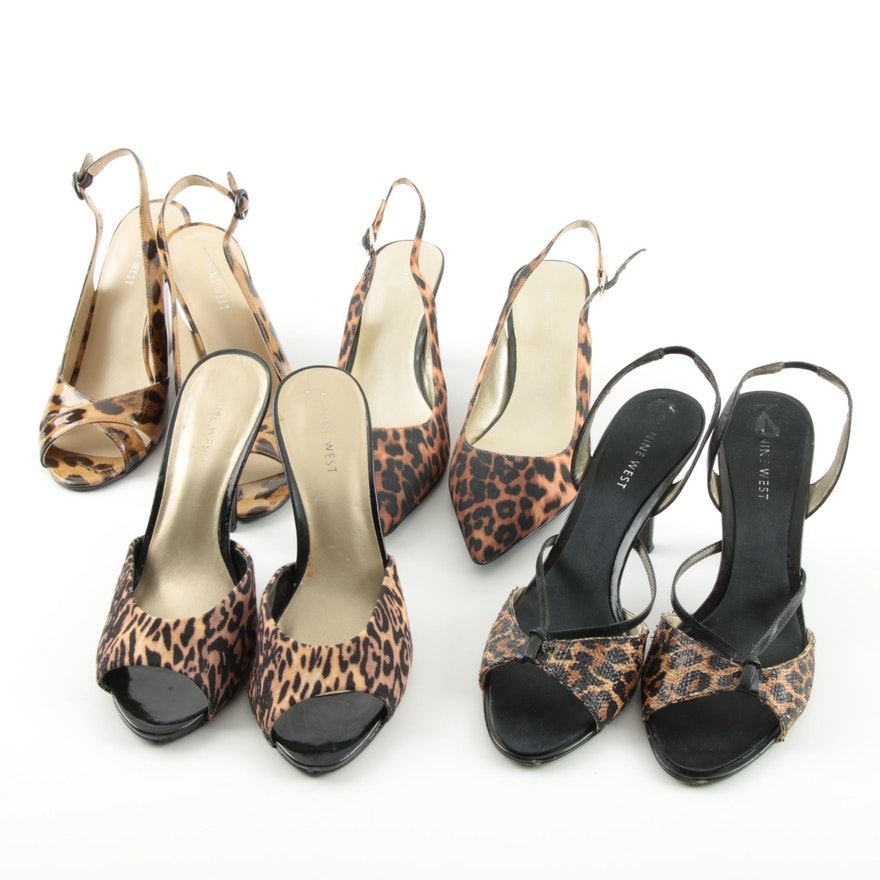 1feb58780ba8 Women s Nine West Leopard Print Heels and Wedges   EBTH