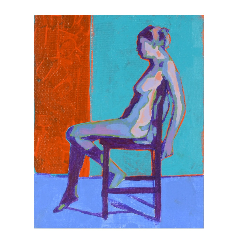 Sarah Brown Orignal Acrylic Painting of an Abstract Figure