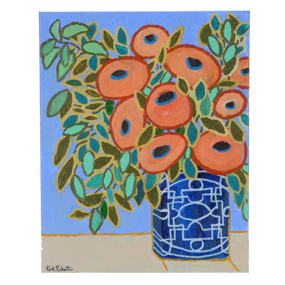 "Kaitlin Roberts Original Acrylic Painting ""Ginger Jar Series No. 1"""