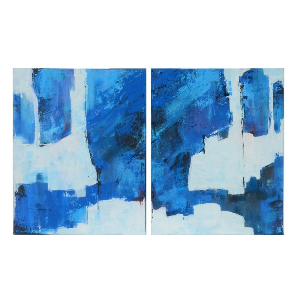 """Sanna Original Acrylic Painting on Canvas Diptych """"A Piece of the Sky"""""""