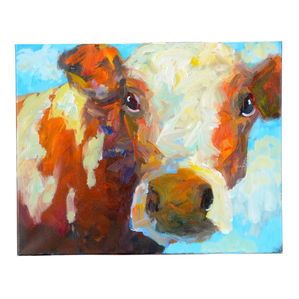Elle Rains Original Acrylic Painting of a Cow