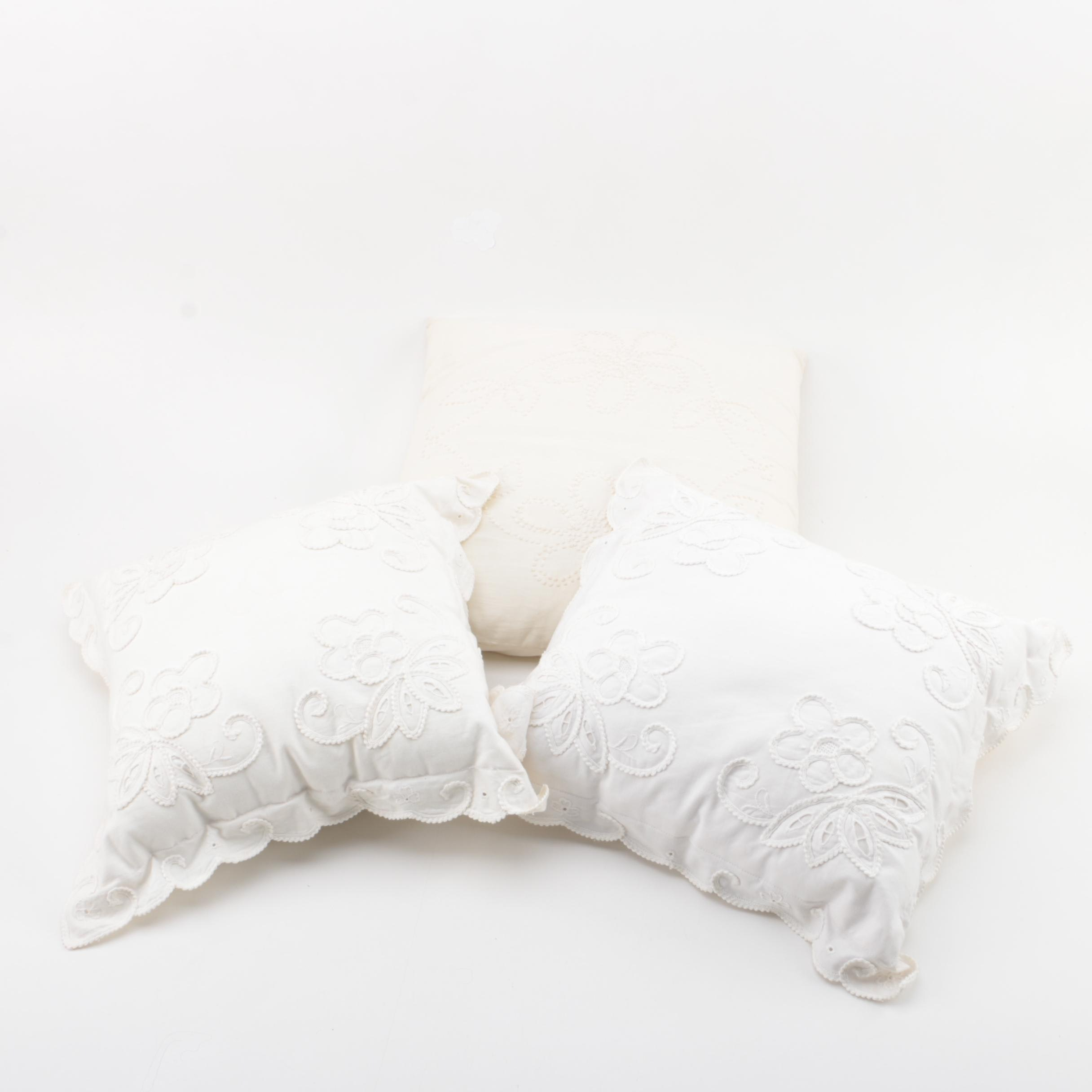 Shades of White Accent Pillows