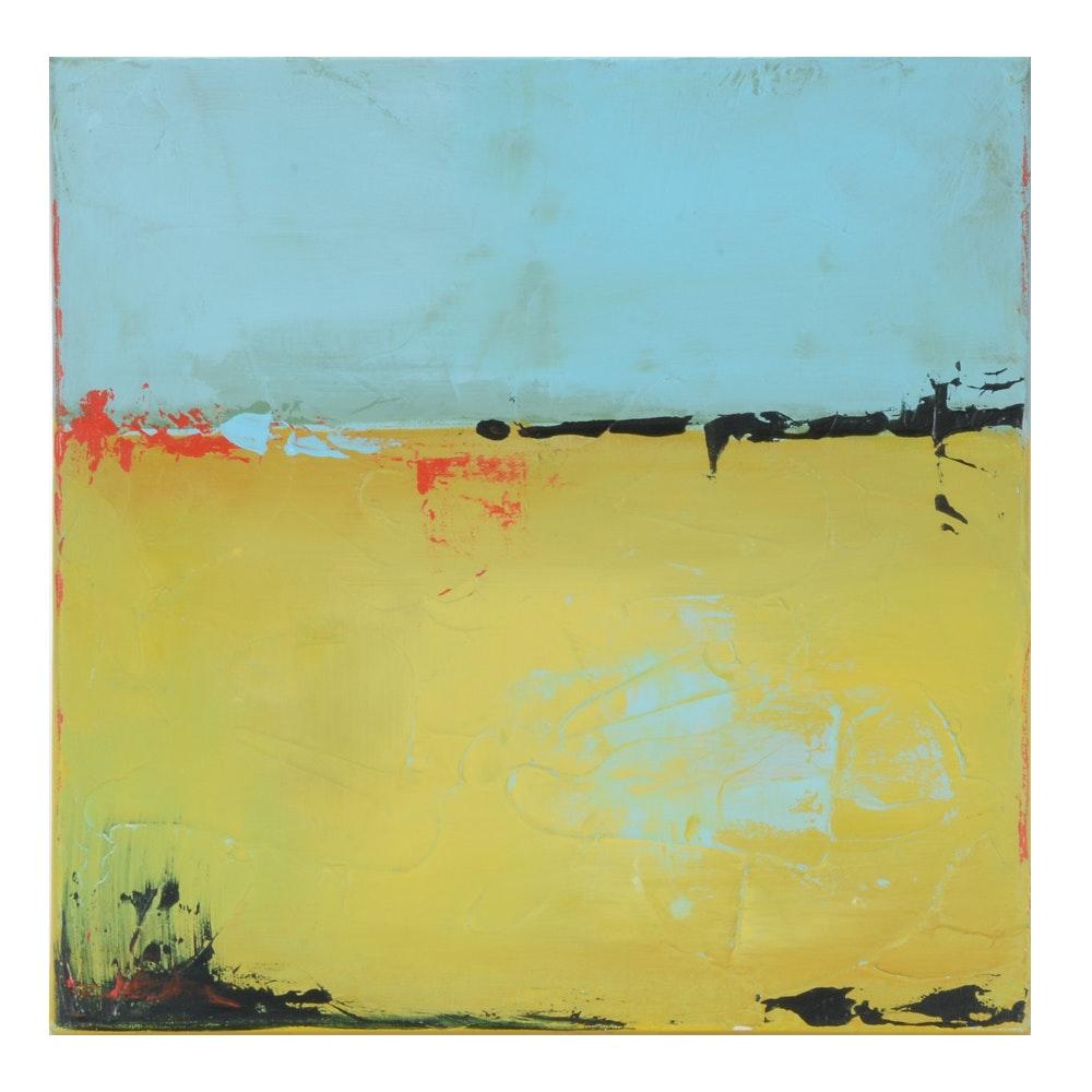 "Sarah Brown Abstract Acrylic Painting ""Sand Meets Sky"""