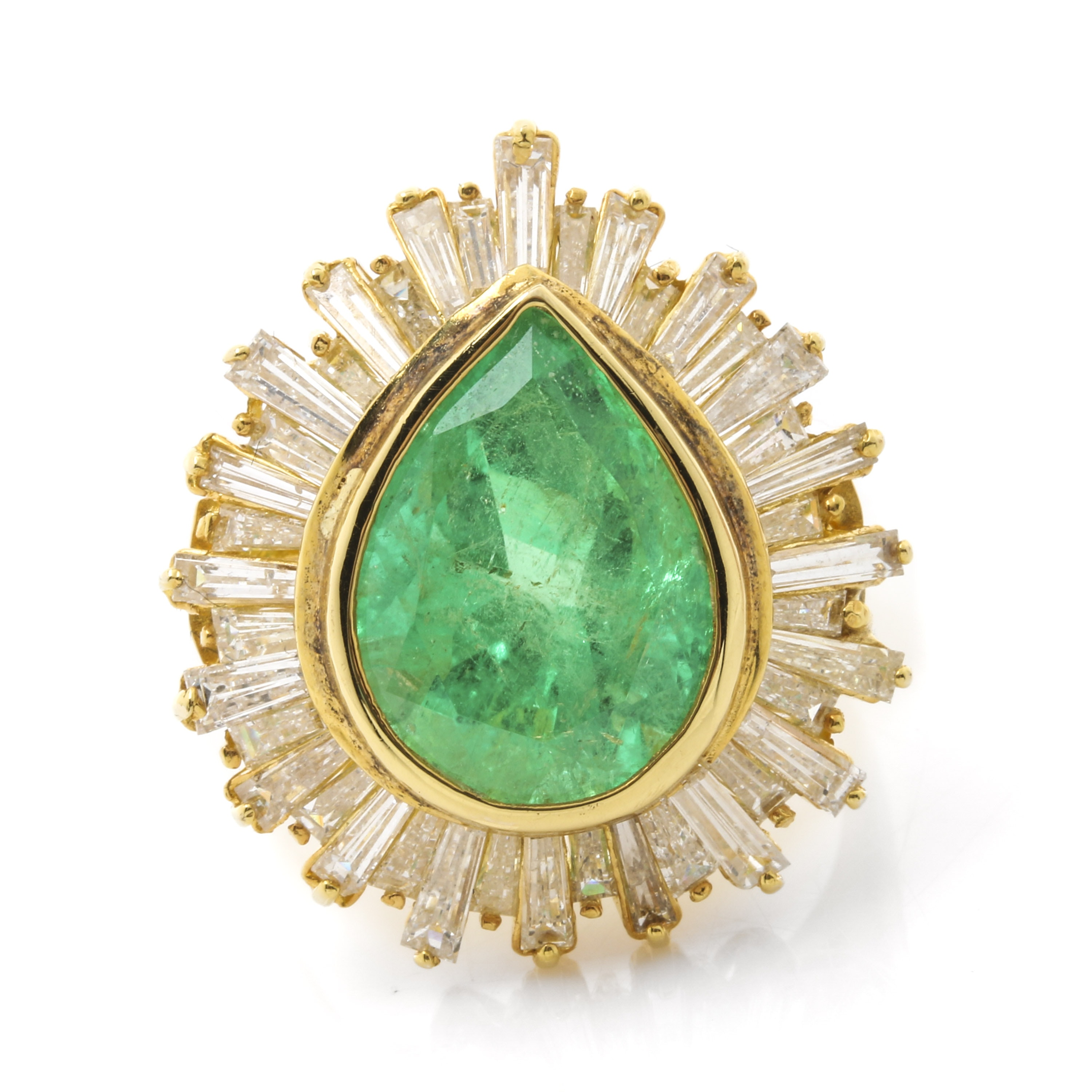 14K Yellow Gold 5.96 CT Emerald and 2.70 CTW Diamond Ring
