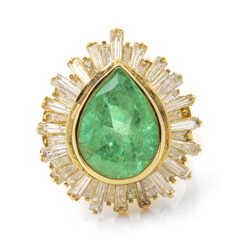 14K Yellow Gold 5.96 CT Emerald and 2.70 CTW Diamond Ring