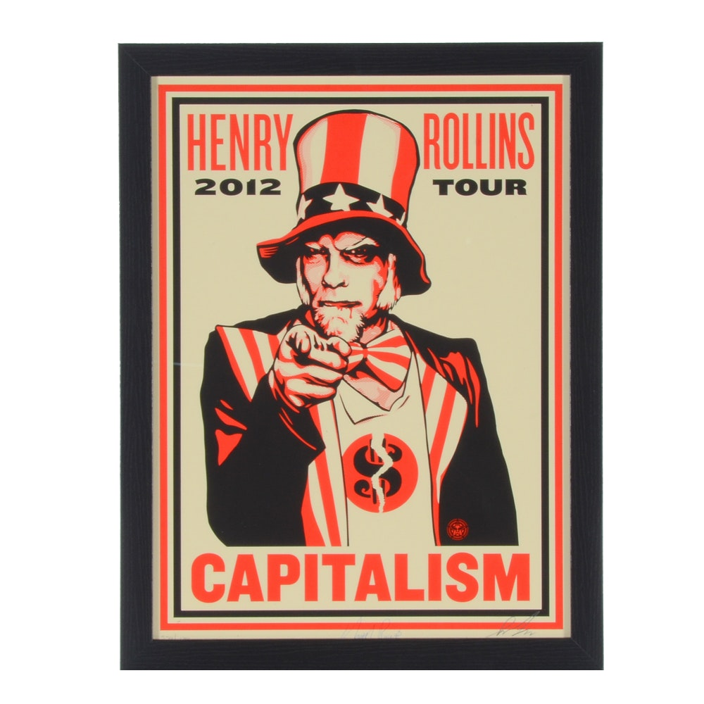 Signed Shepard Fairey Serigraph of Henry Rollins with Signature