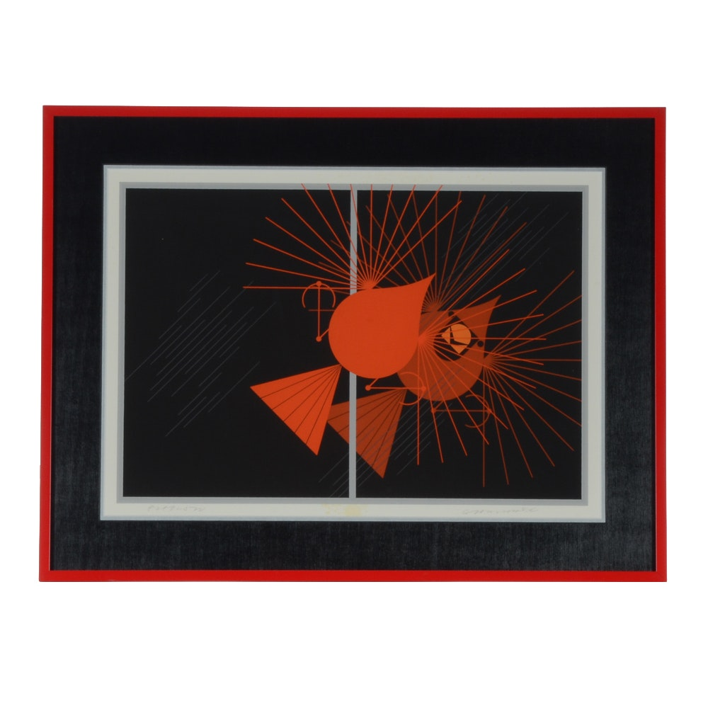 "Charley Harper 1977 Limited Edition Serigraph ""Seeing Red"""