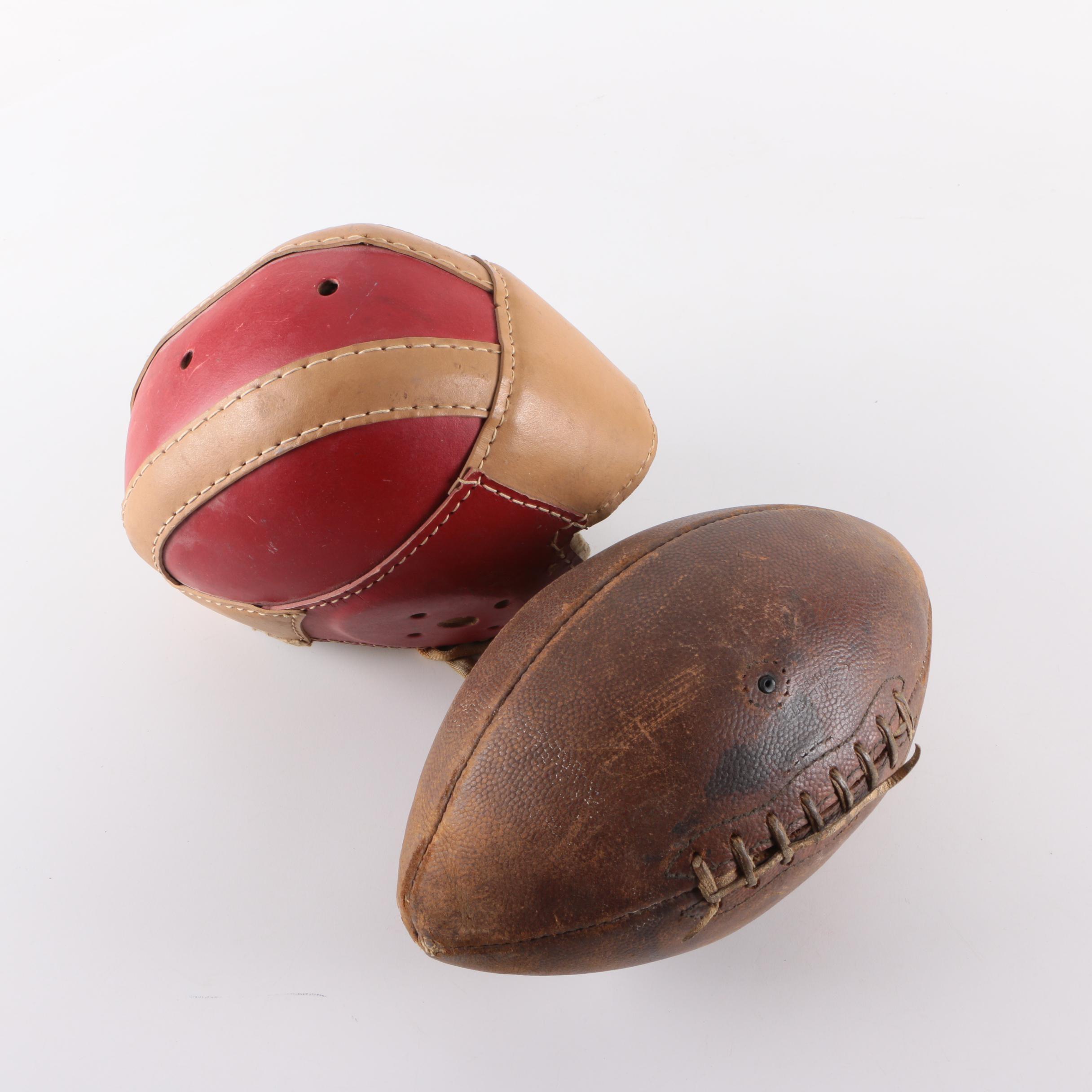 Vintage Football and Helmet