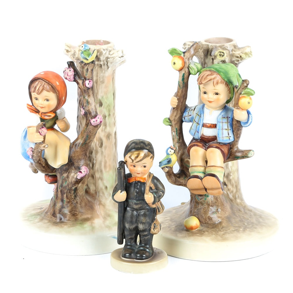 "Vinatge Goebel Hummel Candleholders and ""Chimney Sweep"" Figurine"