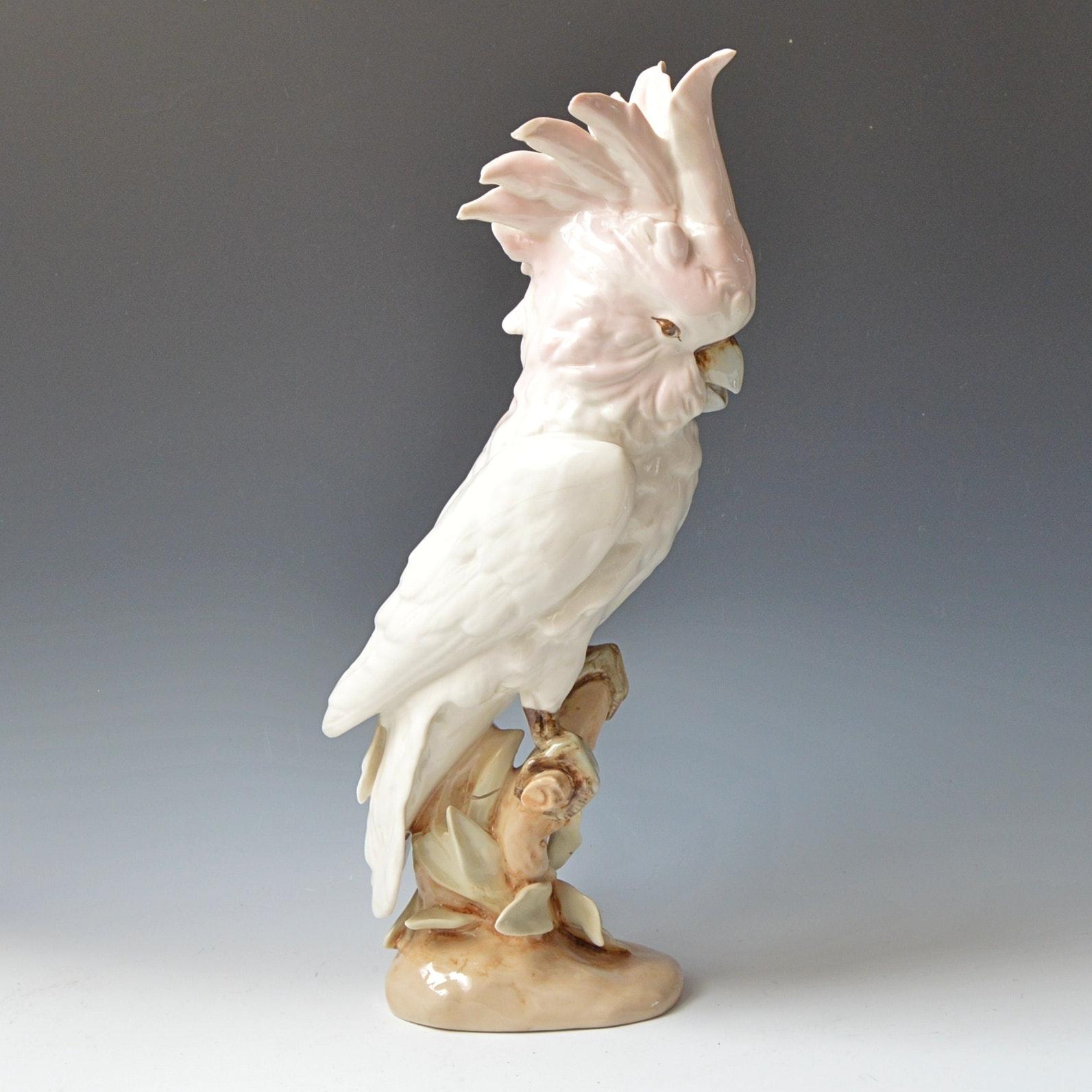 Vintage Czech Royal Dux Porcelain Cockatoo