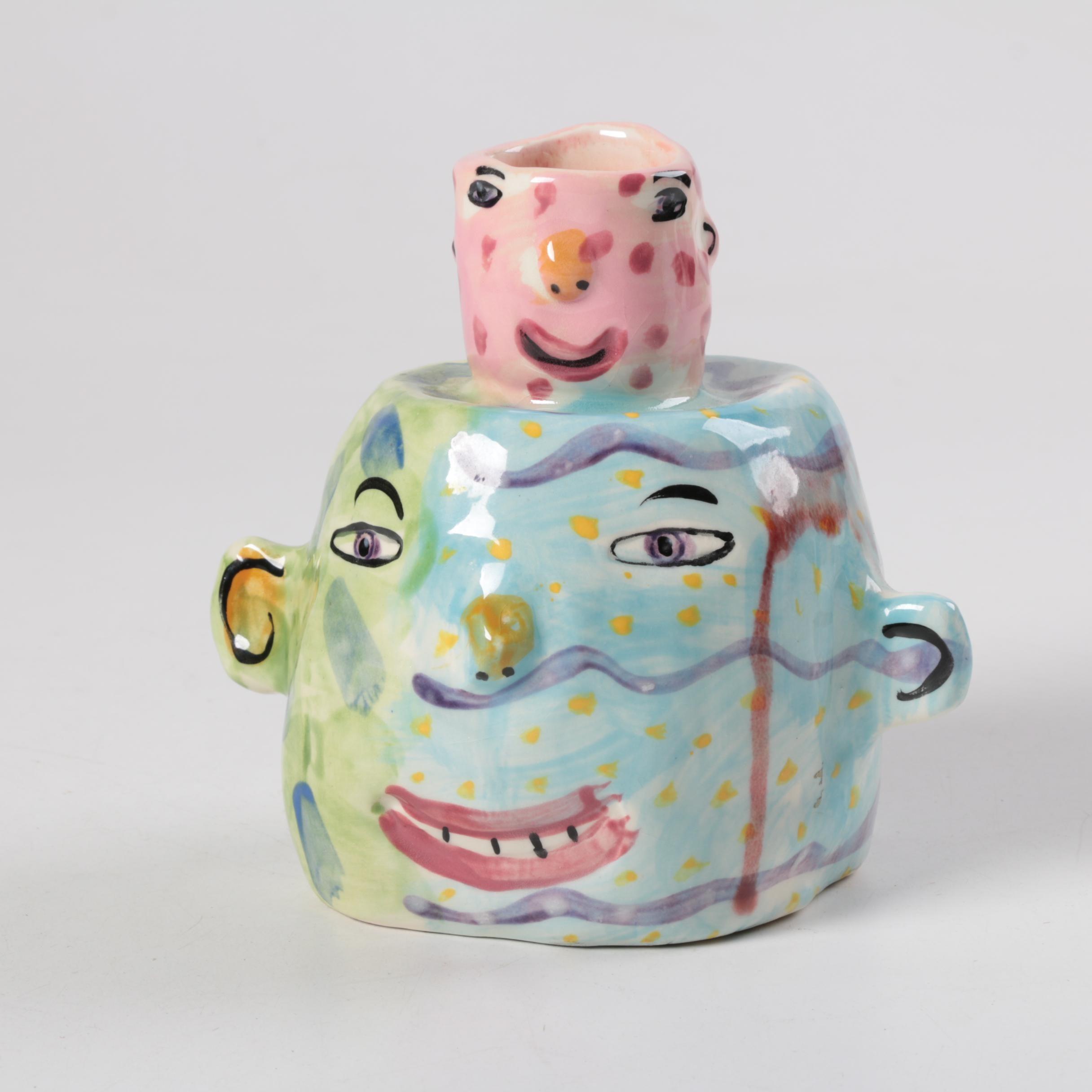 "SIgned ""Izwin"" Colorful Ceramic Candle Holder"