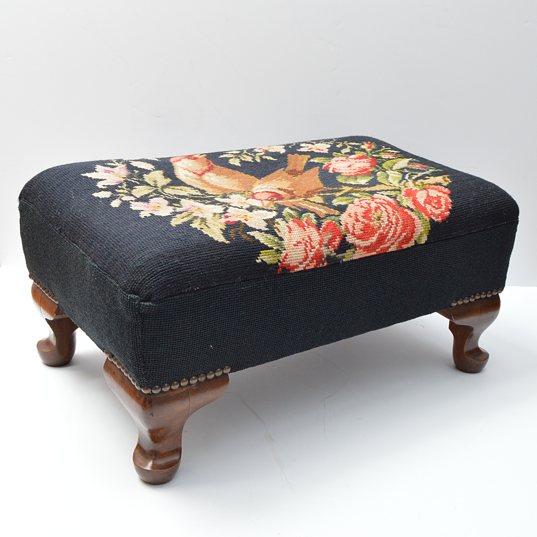 Vintage Queen Anne Style Needlepoint Footstool
