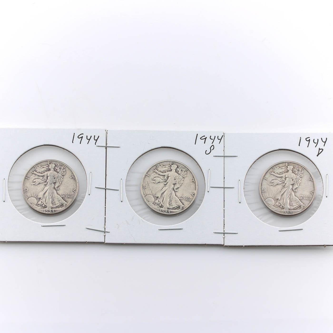 Group of Three 1944 Walking Liberty Silver Half Dollars