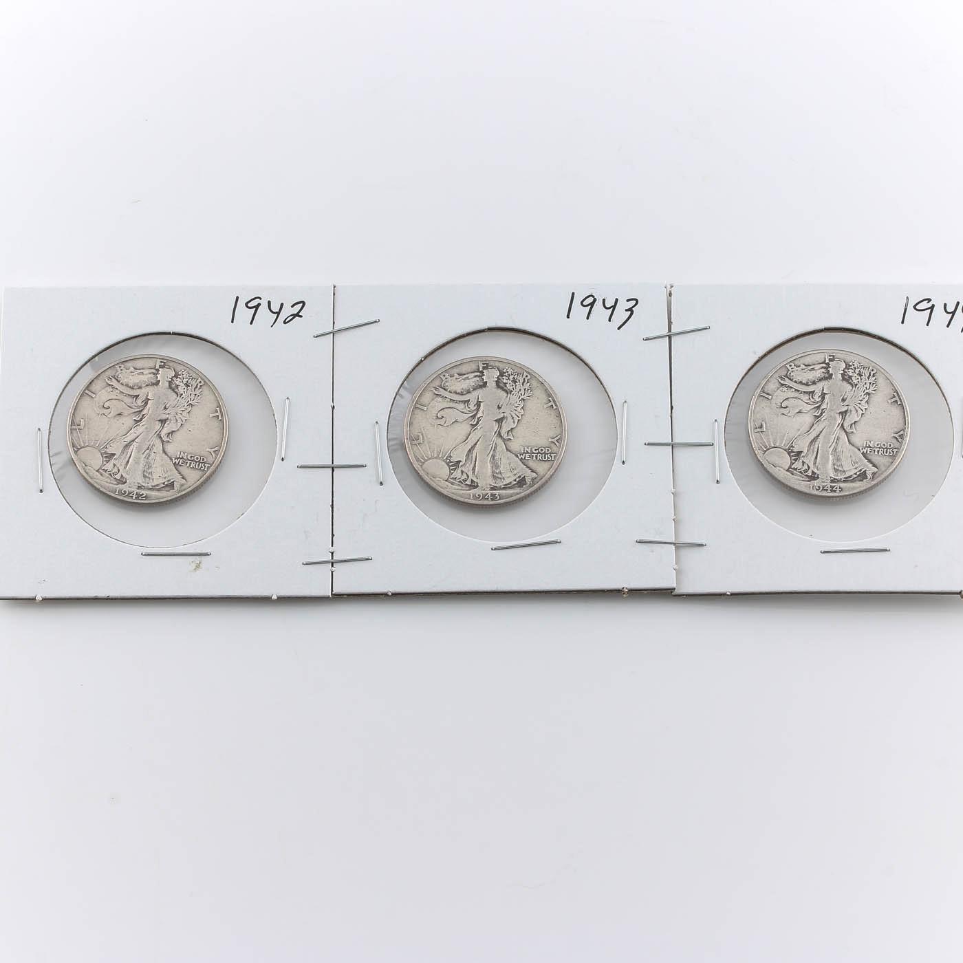 Group of Three Walking Liberty Silver Half Dollars