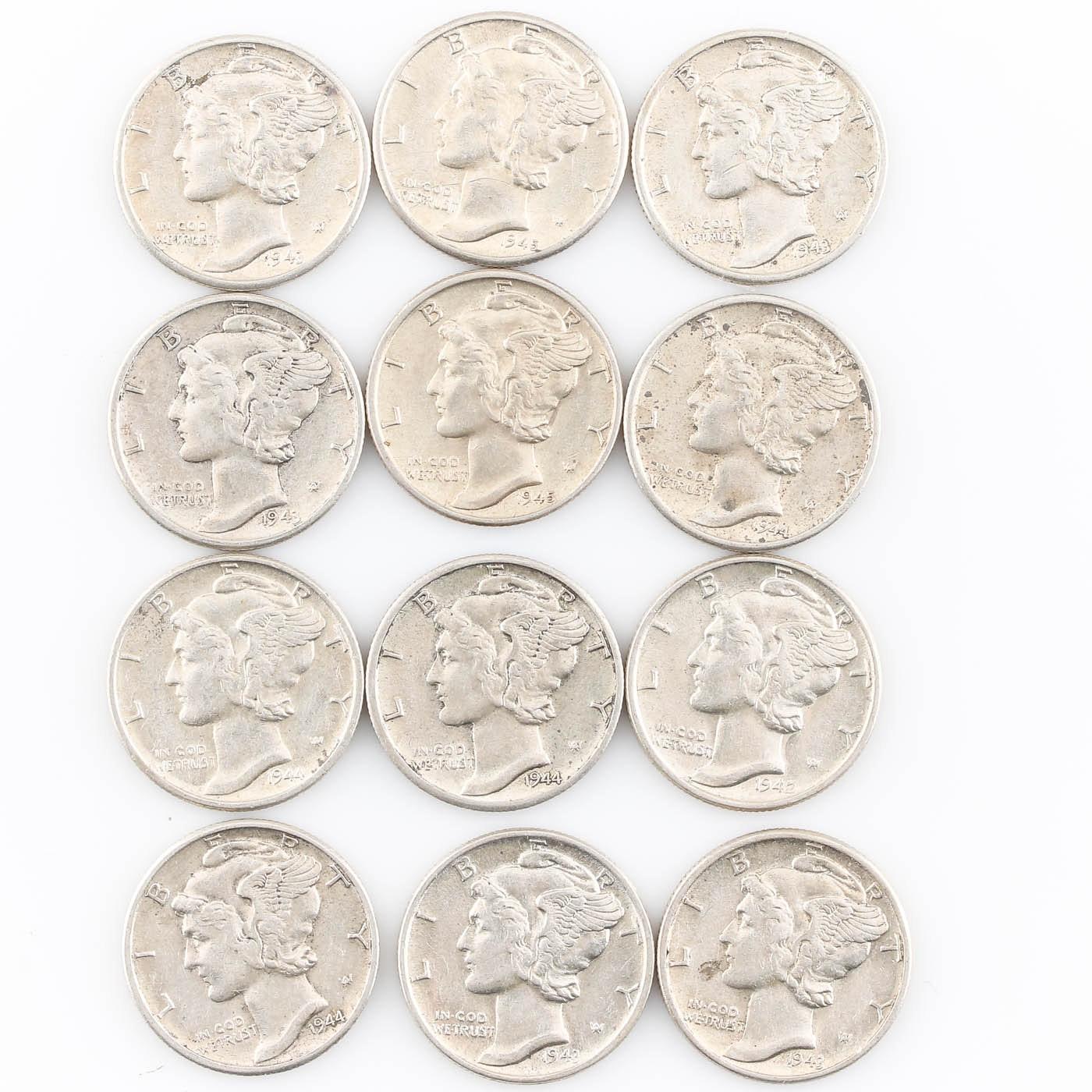 Group of Twelve Various Silver Mercury Dimes