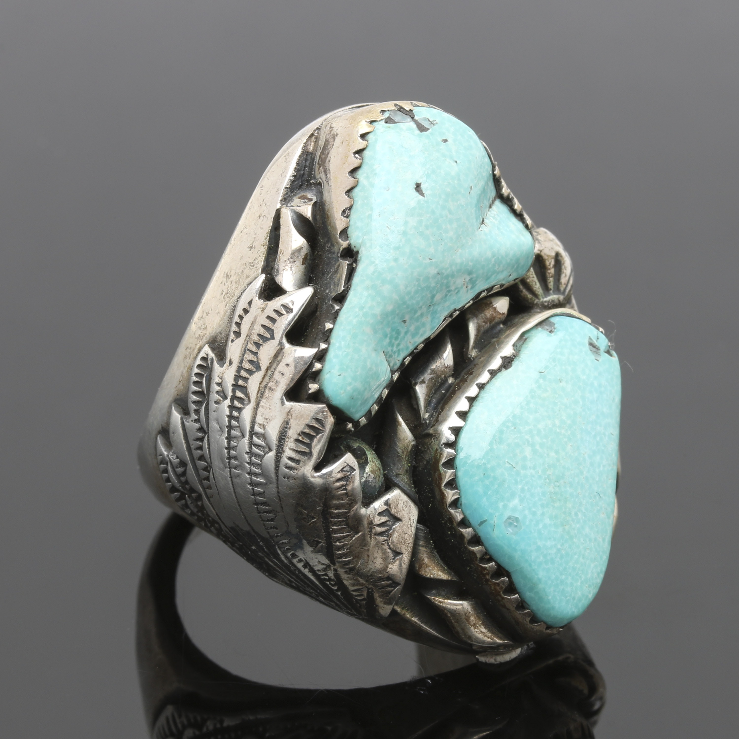 Southwestern Styled Sterling Silver Turquoise Ring