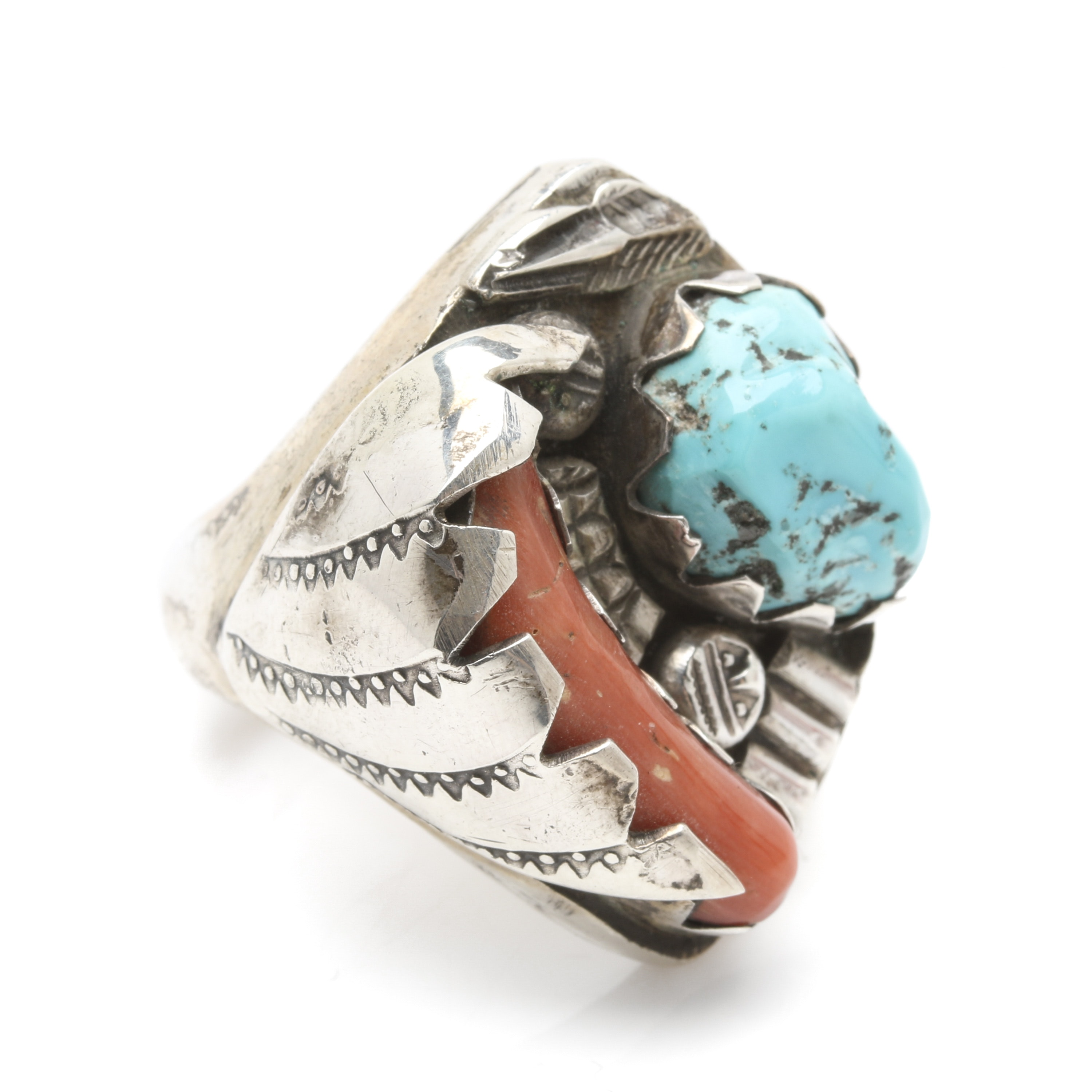 Southwestern Style Sterling Silver Turquoise and Branch Coral Ring