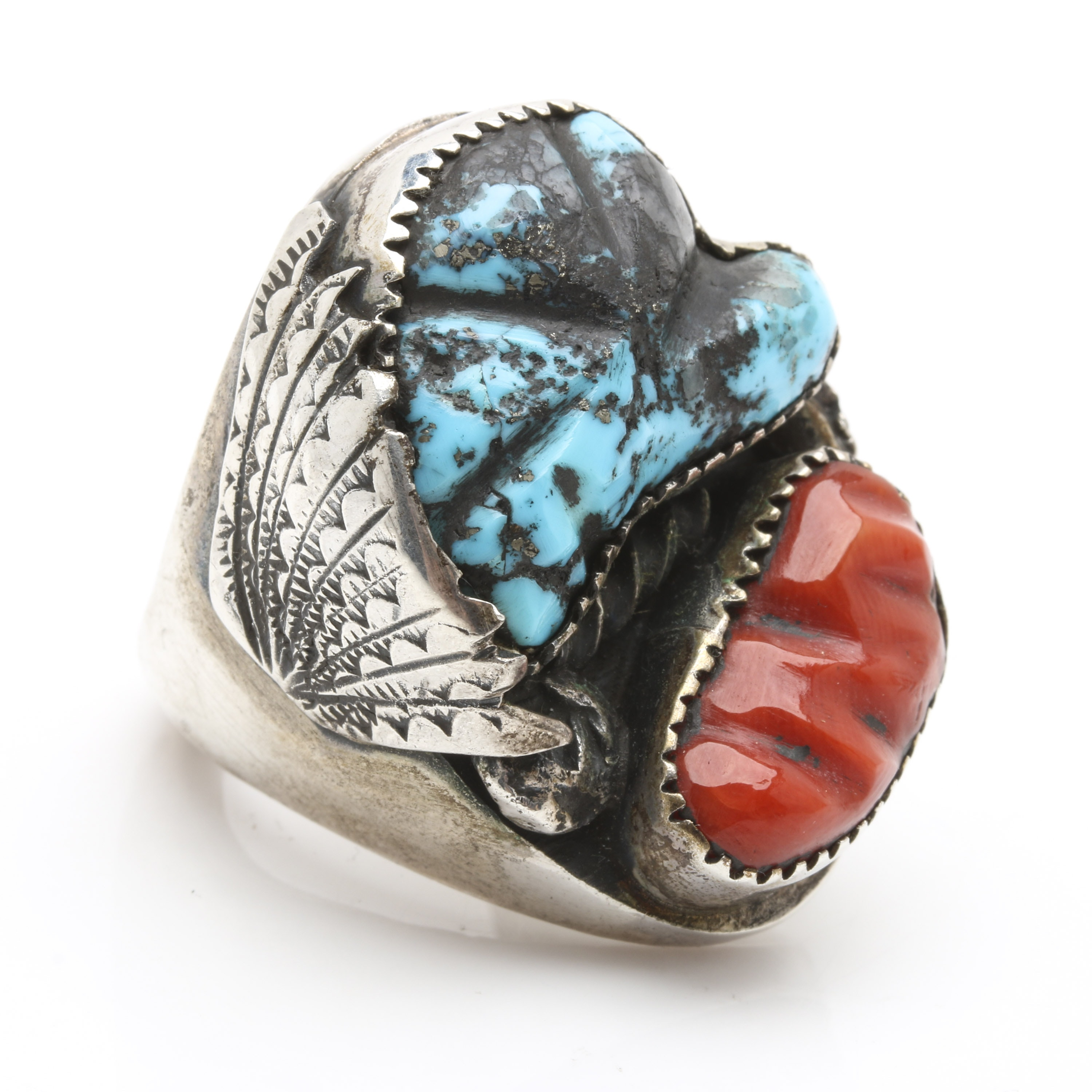 P. Padilla Navajo Diné Sterling Silver Turquoise and Coral Ring