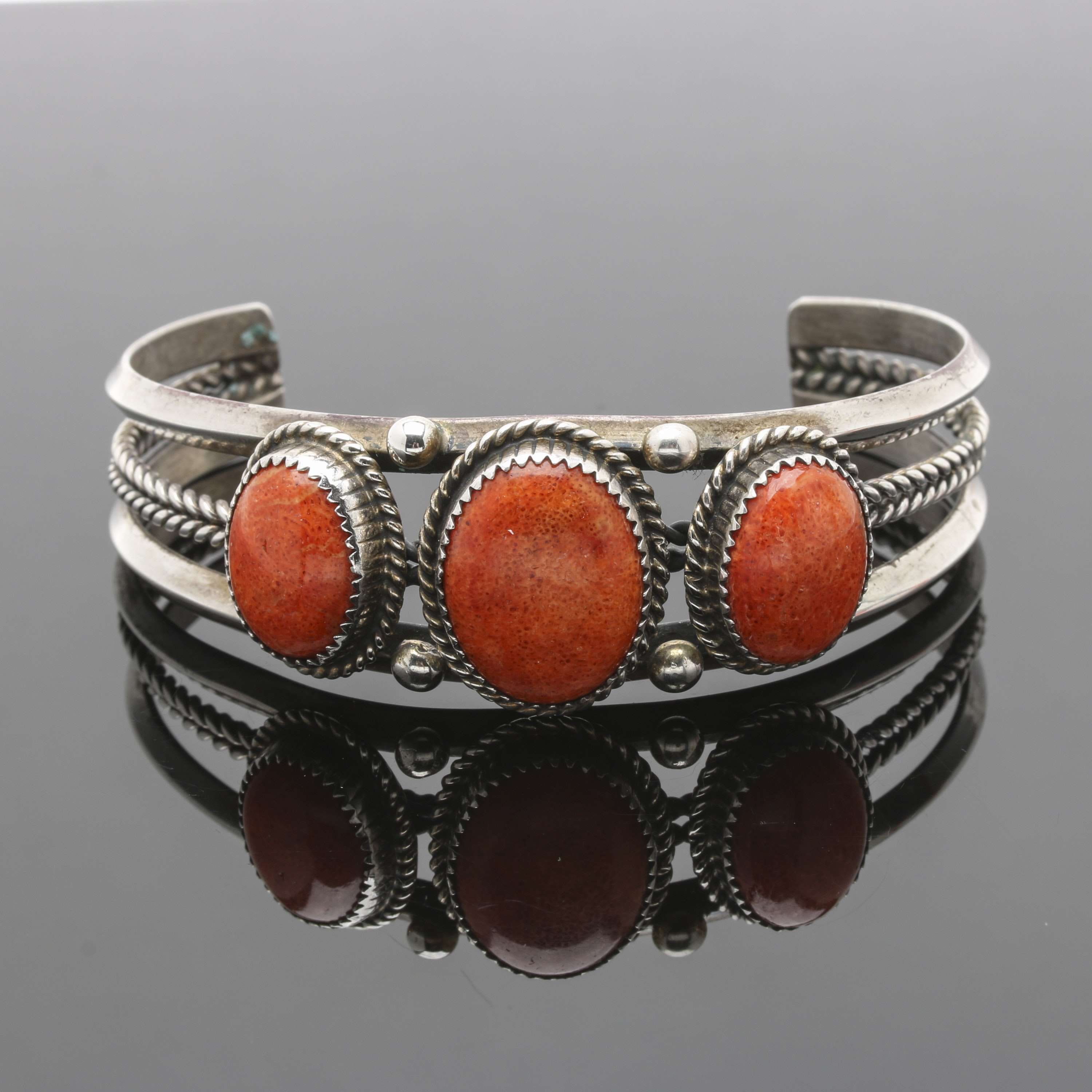 Robert Becenti Navajo Diné Sterling Silver Coral Cuff Bracelet