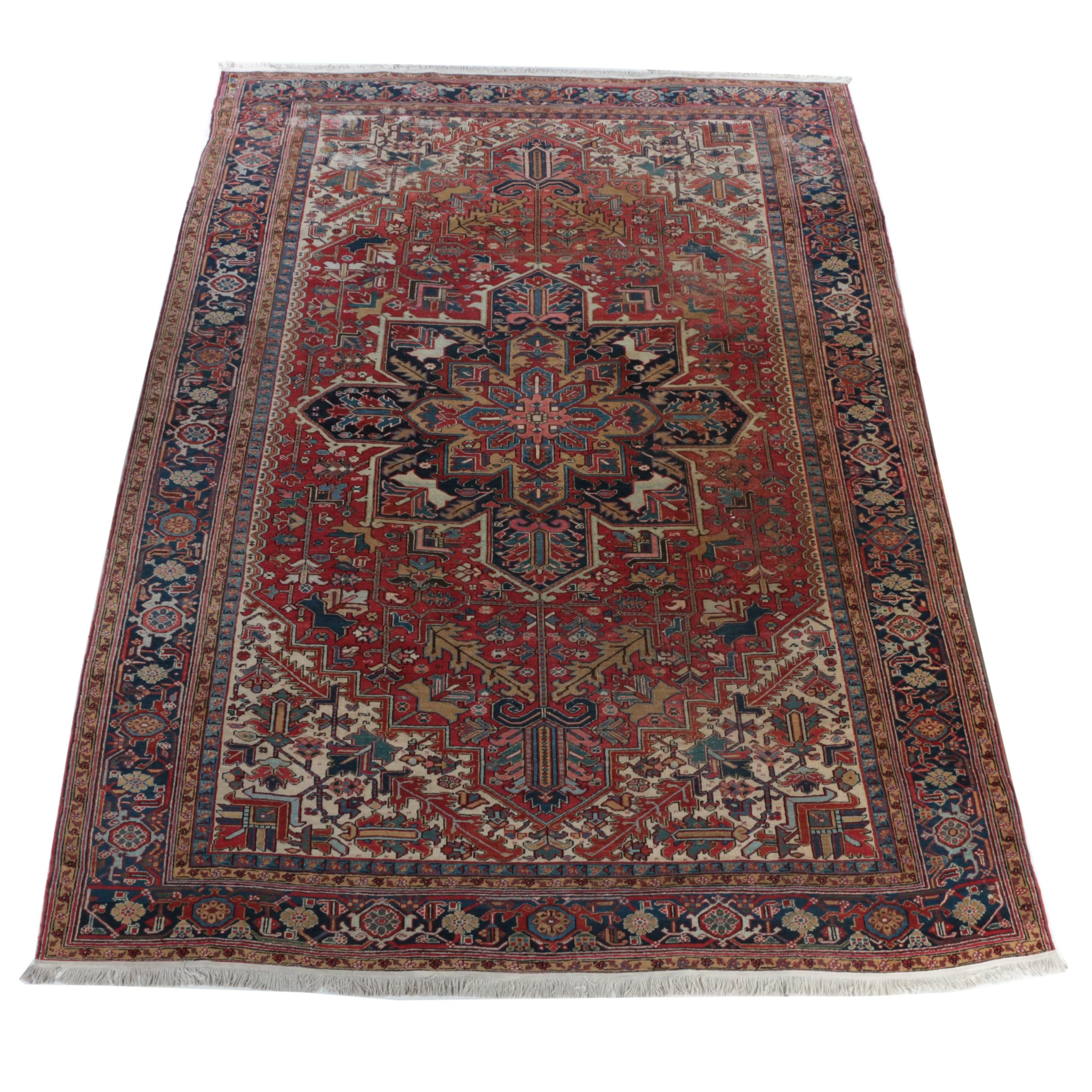 Vintage Hand-Knotted Persian Heriz Wool Room Size Rug