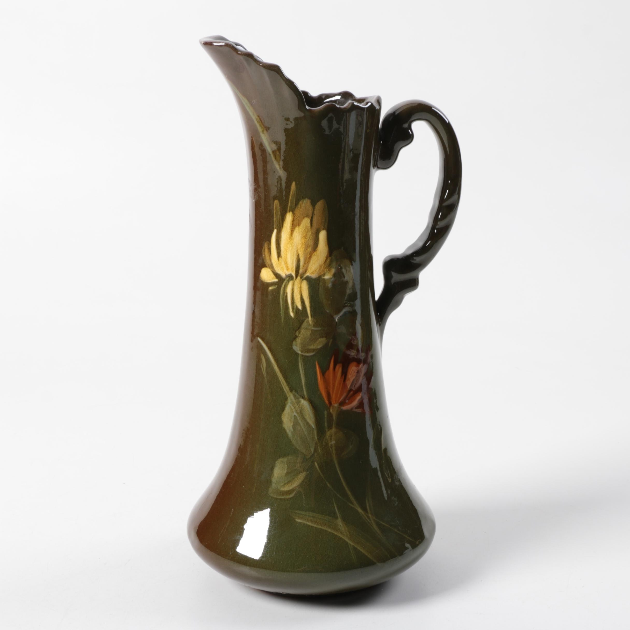 Vintage Hand-Painted Standard Glaze Ewer After Weller