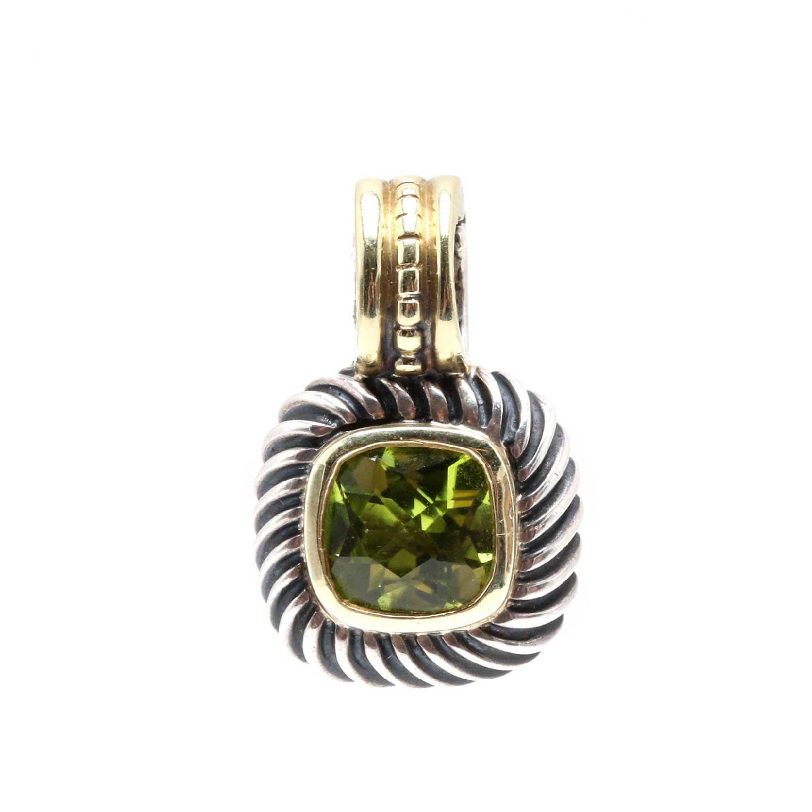 David Yurman Sterling Silver and 14K Yellow Gold Peridot Pendant