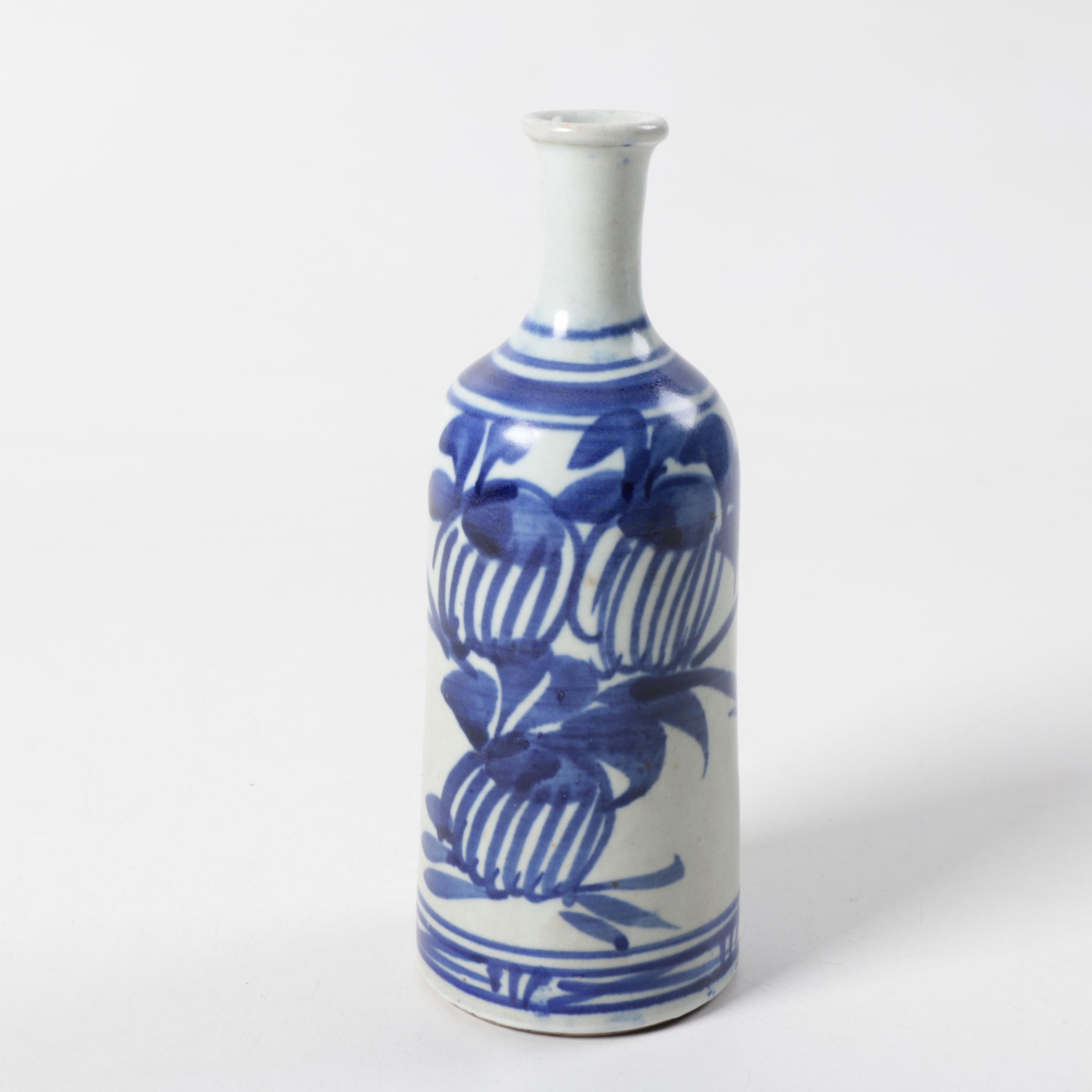 Asian Inspired Blue and White Ceramic Bud Vase