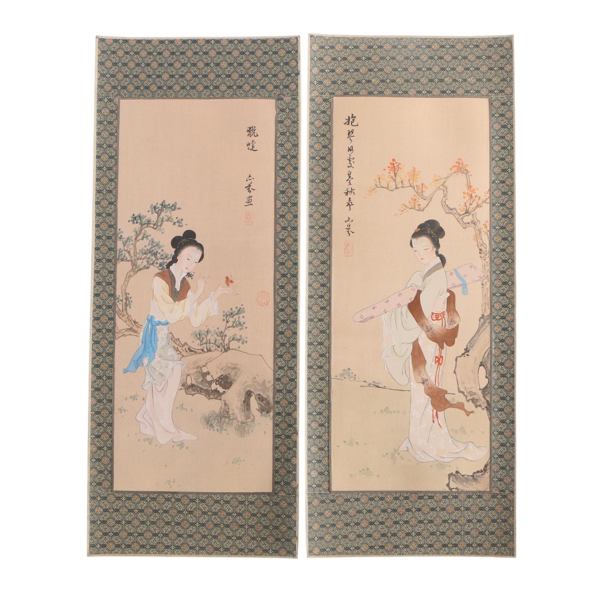 Chinese Gouache Paintings of Ladies on Silk