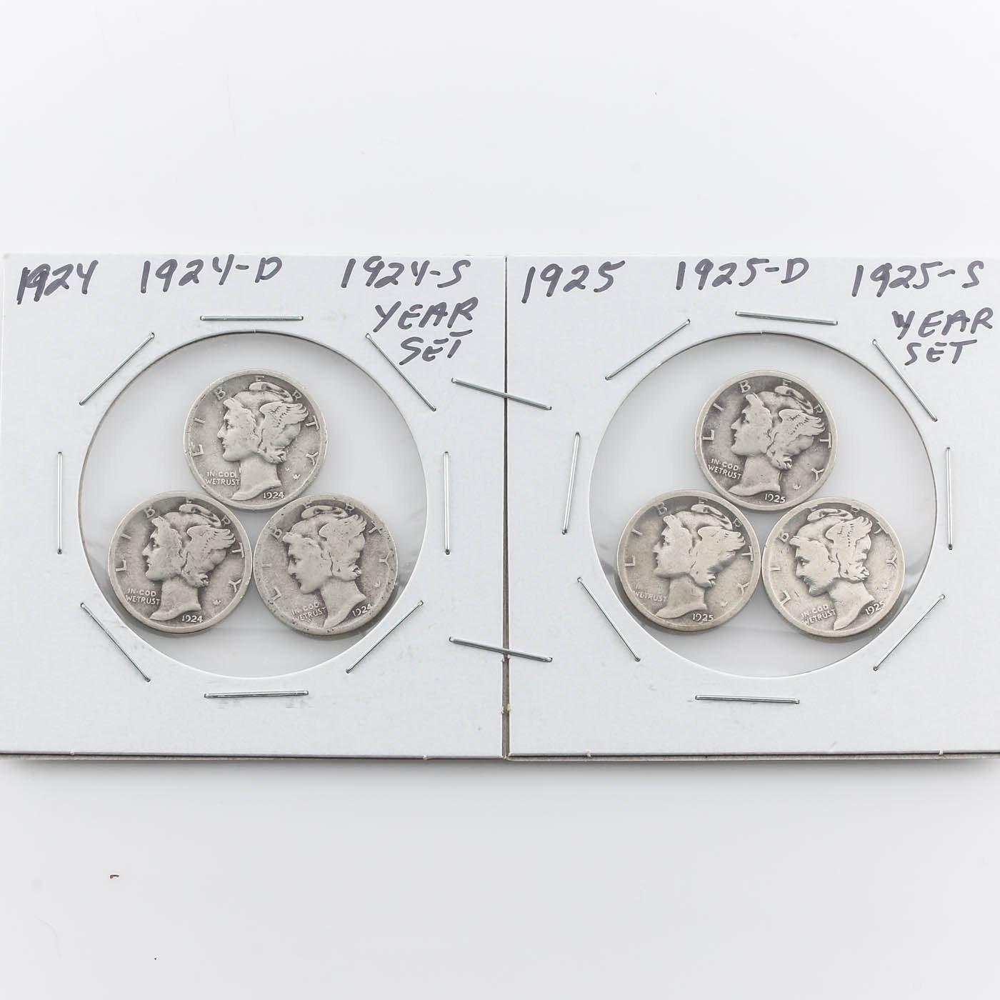 Group of Six Silver Mercury Dimes