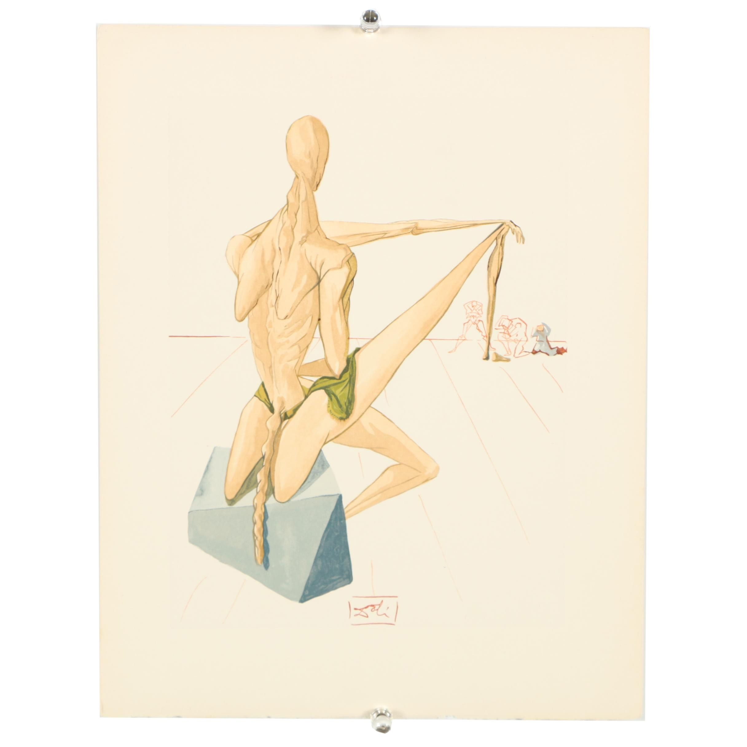 "Salvador Dali Wood Engraving ""Hell Canto 5"""